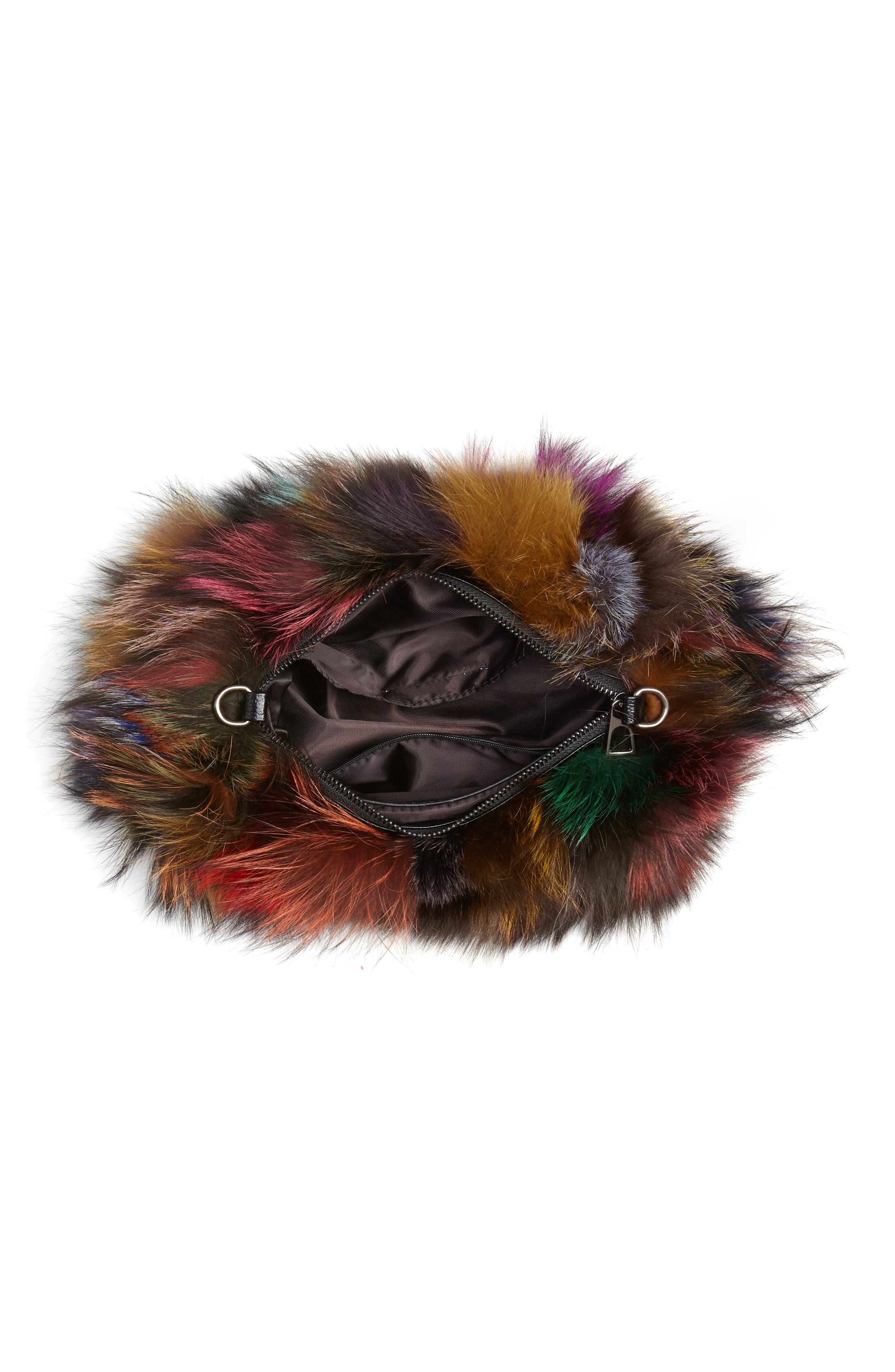 Elmo Genuine Silver Fox Fur Shoulder Bag,                             Alternate thumbnail 5, color,                             BLUE MULTI