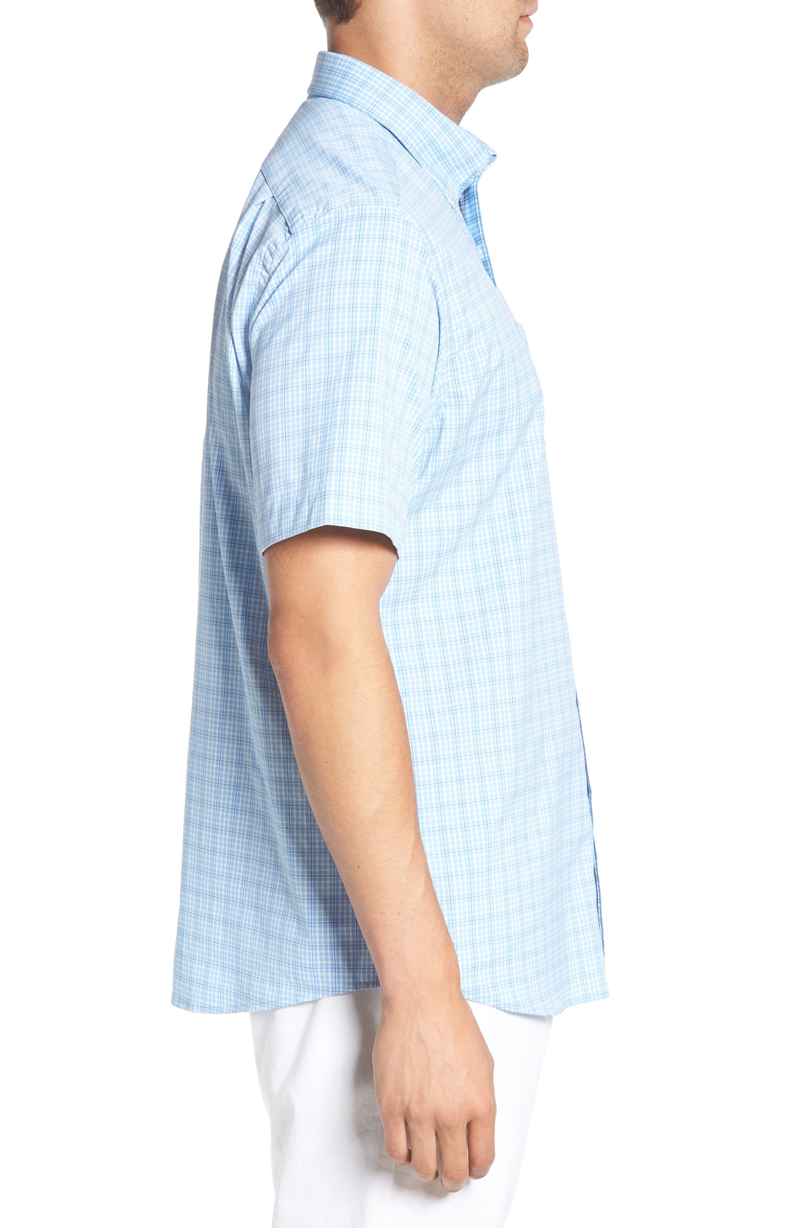 Nautical Mile Regular Fit Plaid Performance Sport Shirt,                             Alternate thumbnail 3, color,                             450