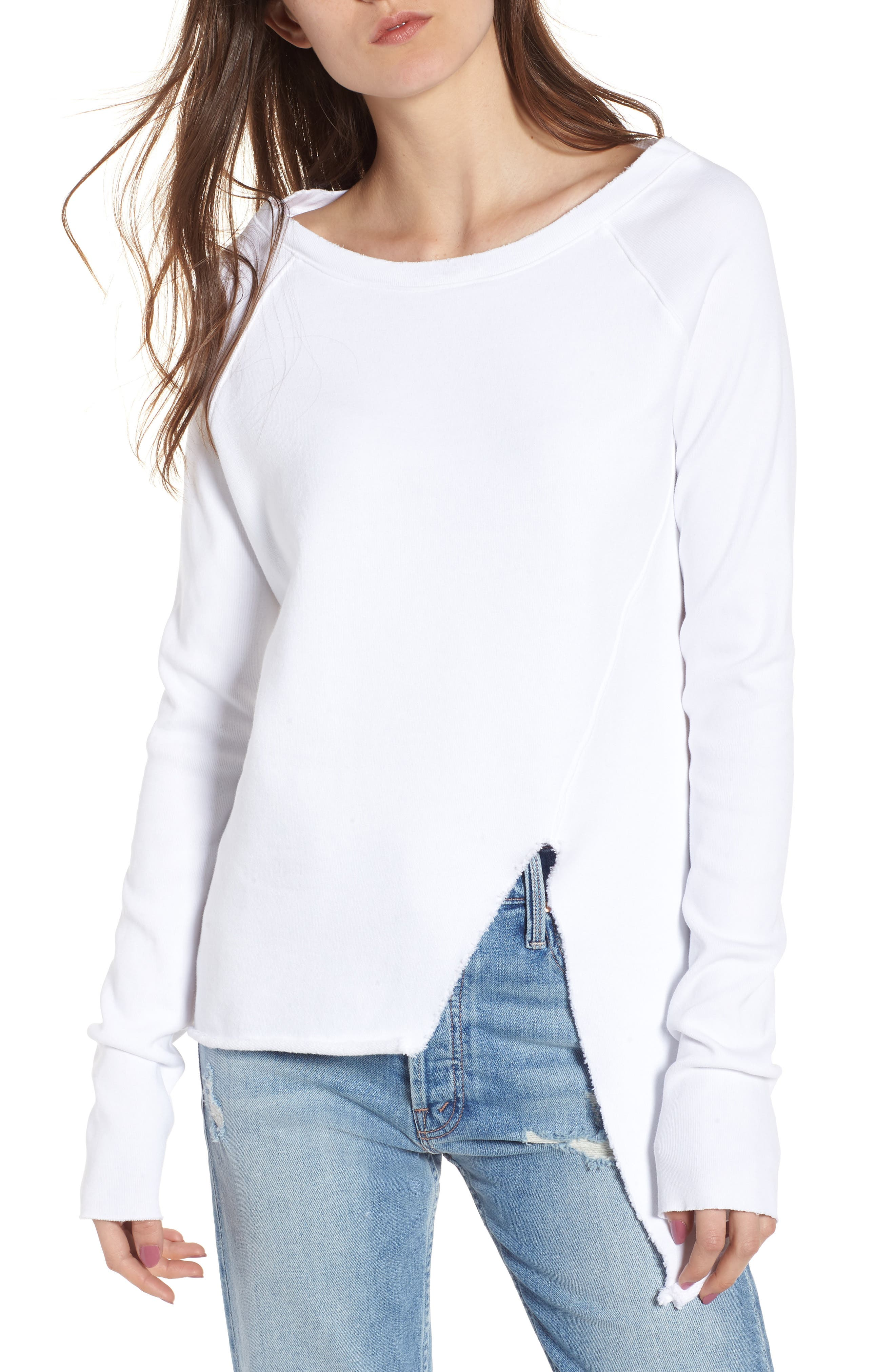 Asymmetric Sweatshirt,                             Main thumbnail 1, color,                             WHITEOUT