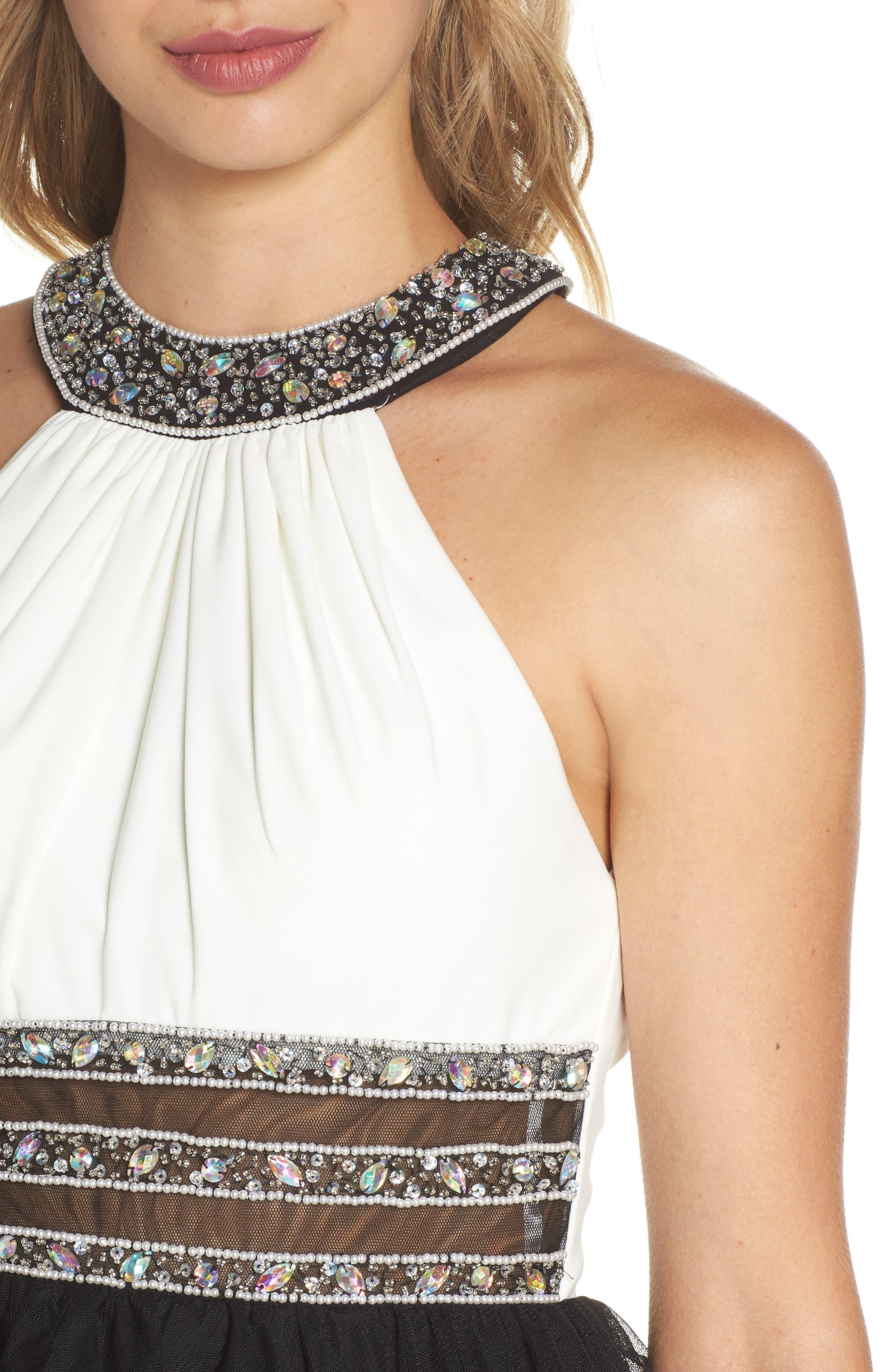 Embellished Colorblock Skater Dress,                             Alternate thumbnail 4, color,                             WHITE/ BLACK