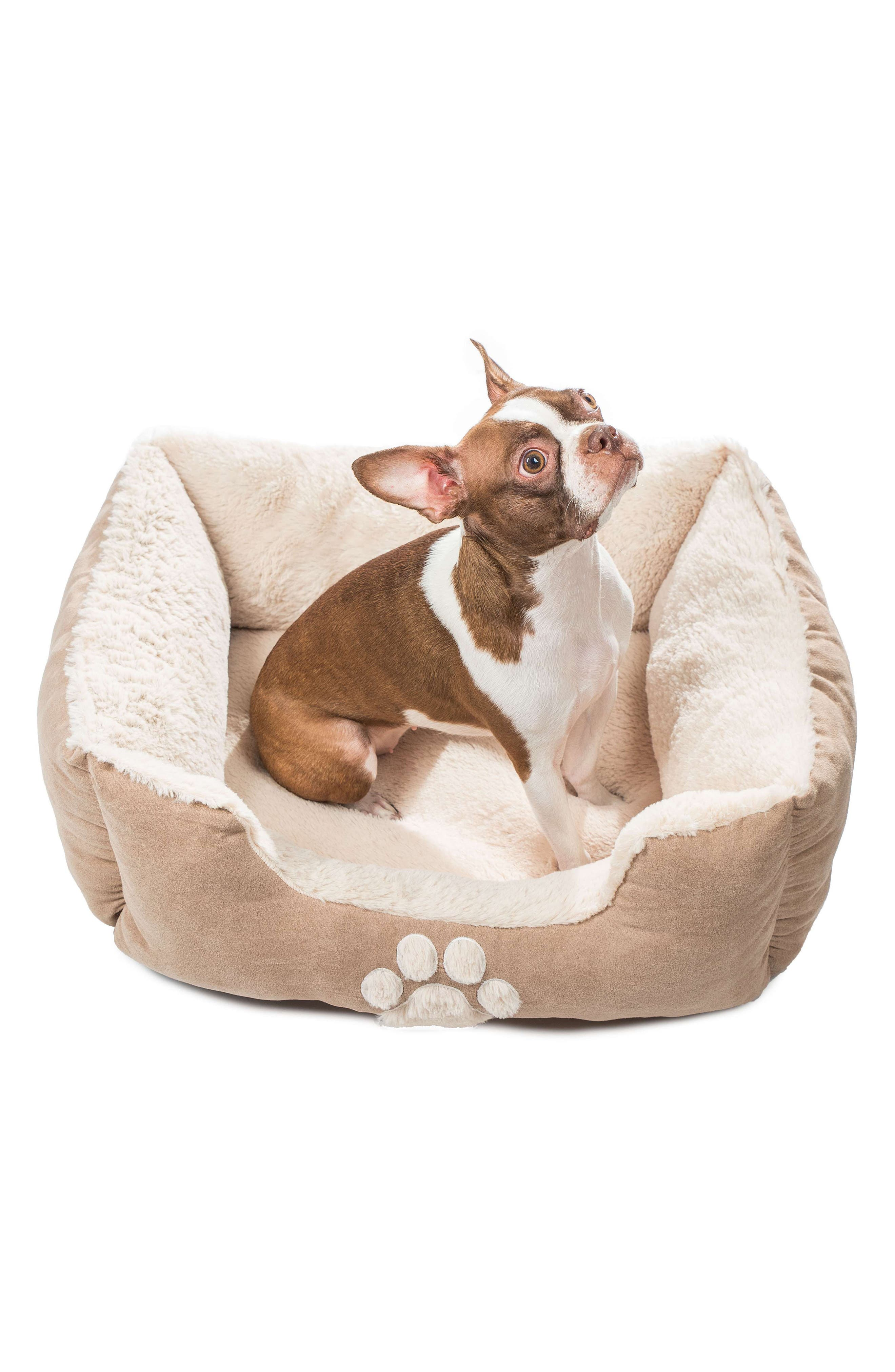 Roxi Square Pet Bed,                             Alternate thumbnail 3, color,                             TAUPE