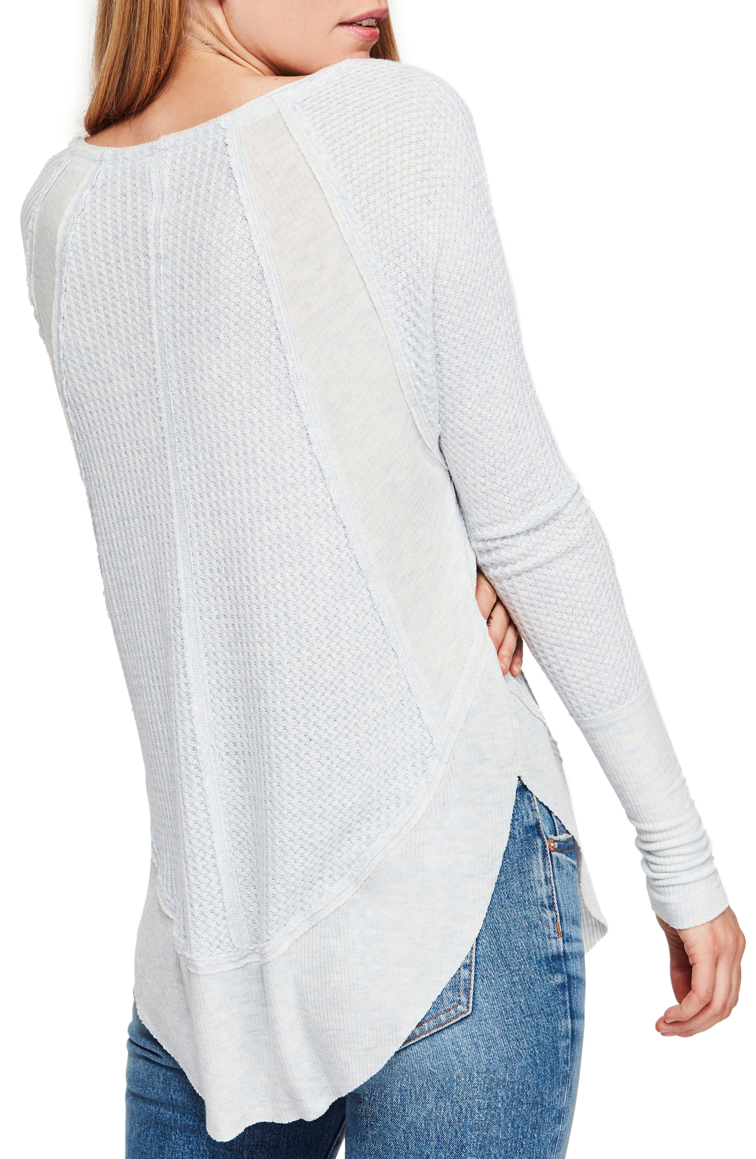 FREE PEOPLE,                             We the Free by Free People Catalina V-Neck Thermal Top,                             Alternate thumbnail 2, color,                             SKY