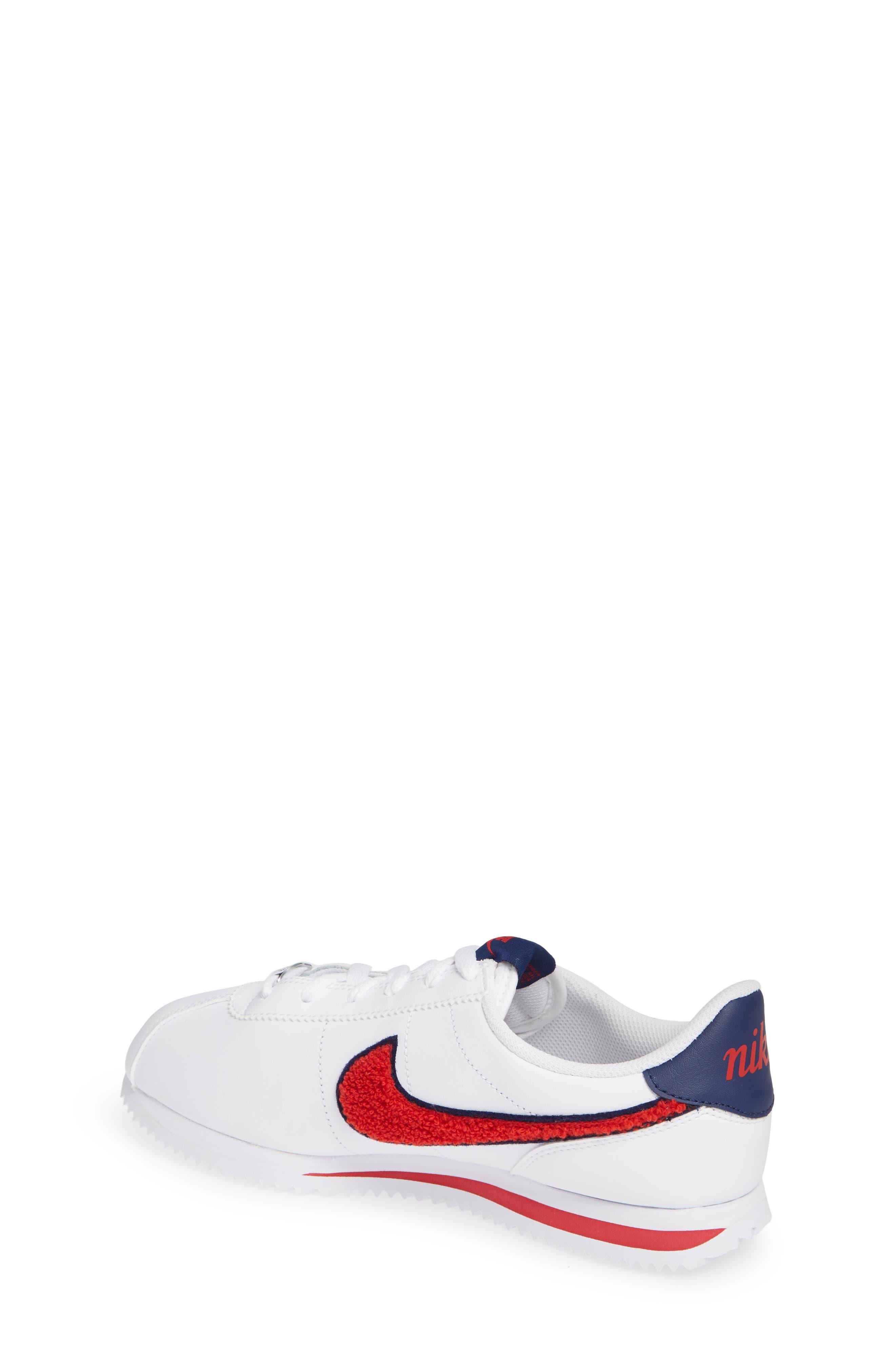 Cortez Basic SE Sneaker,                             Alternate thumbnail 2, color,                             WHITE/ UNIVERSITY RED/ BLUE