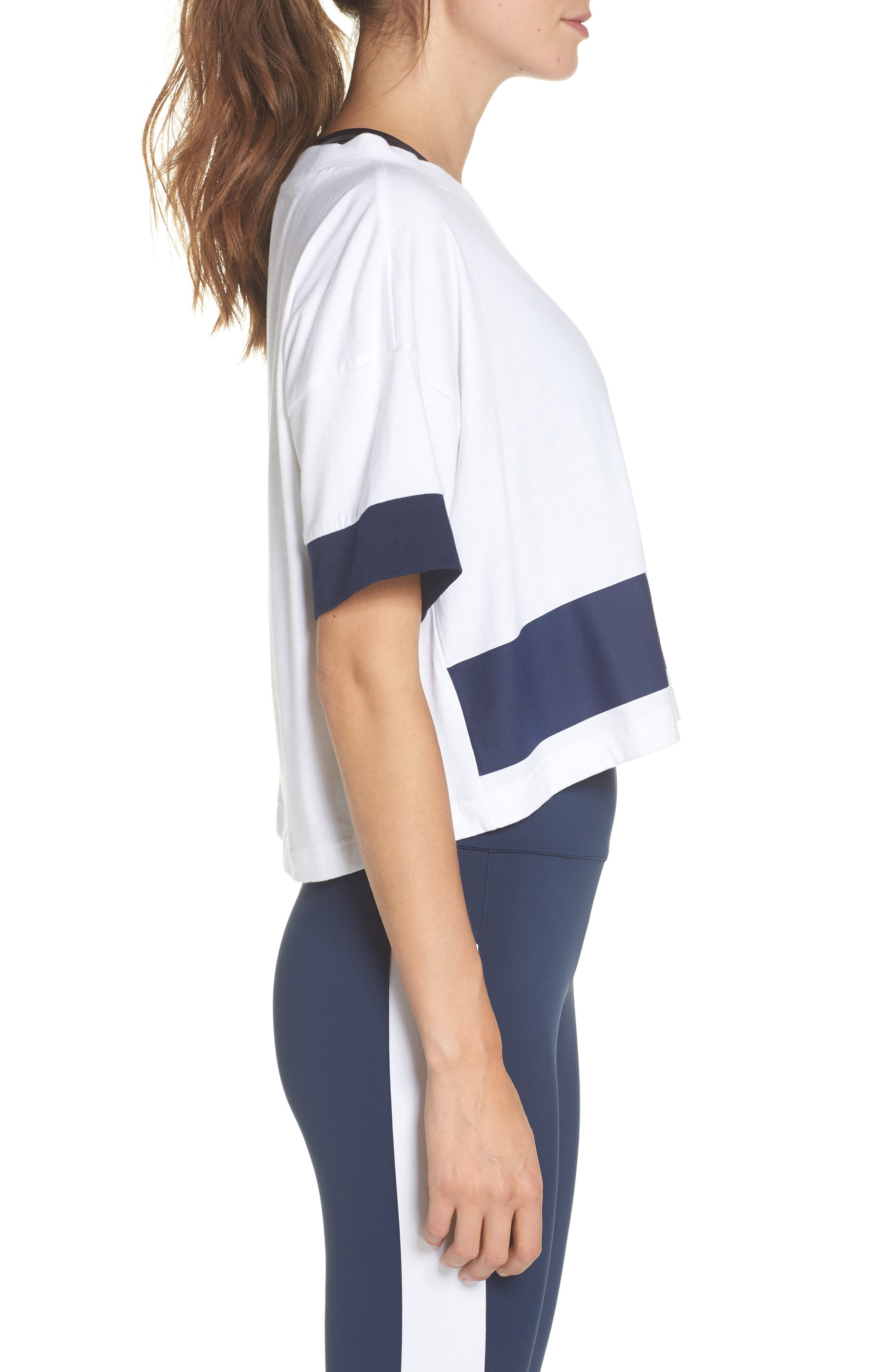AC Cropped Tee,                             Alternate thumbnail 3, color,                             WHITE/ COLLEGIATE NAVY