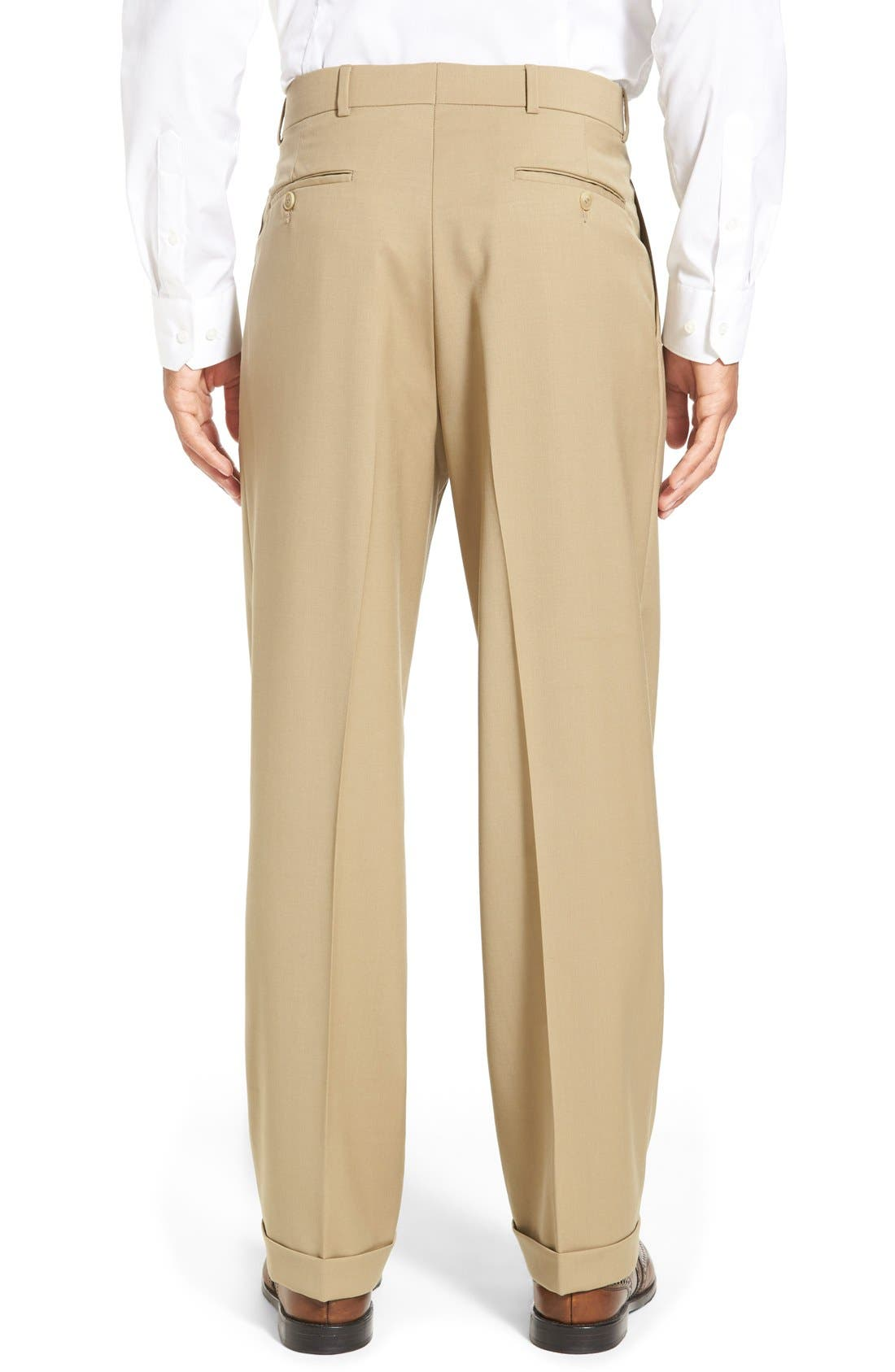 Pleated Solid Wool Trousers,                             Alternate thumbnail 22, color,