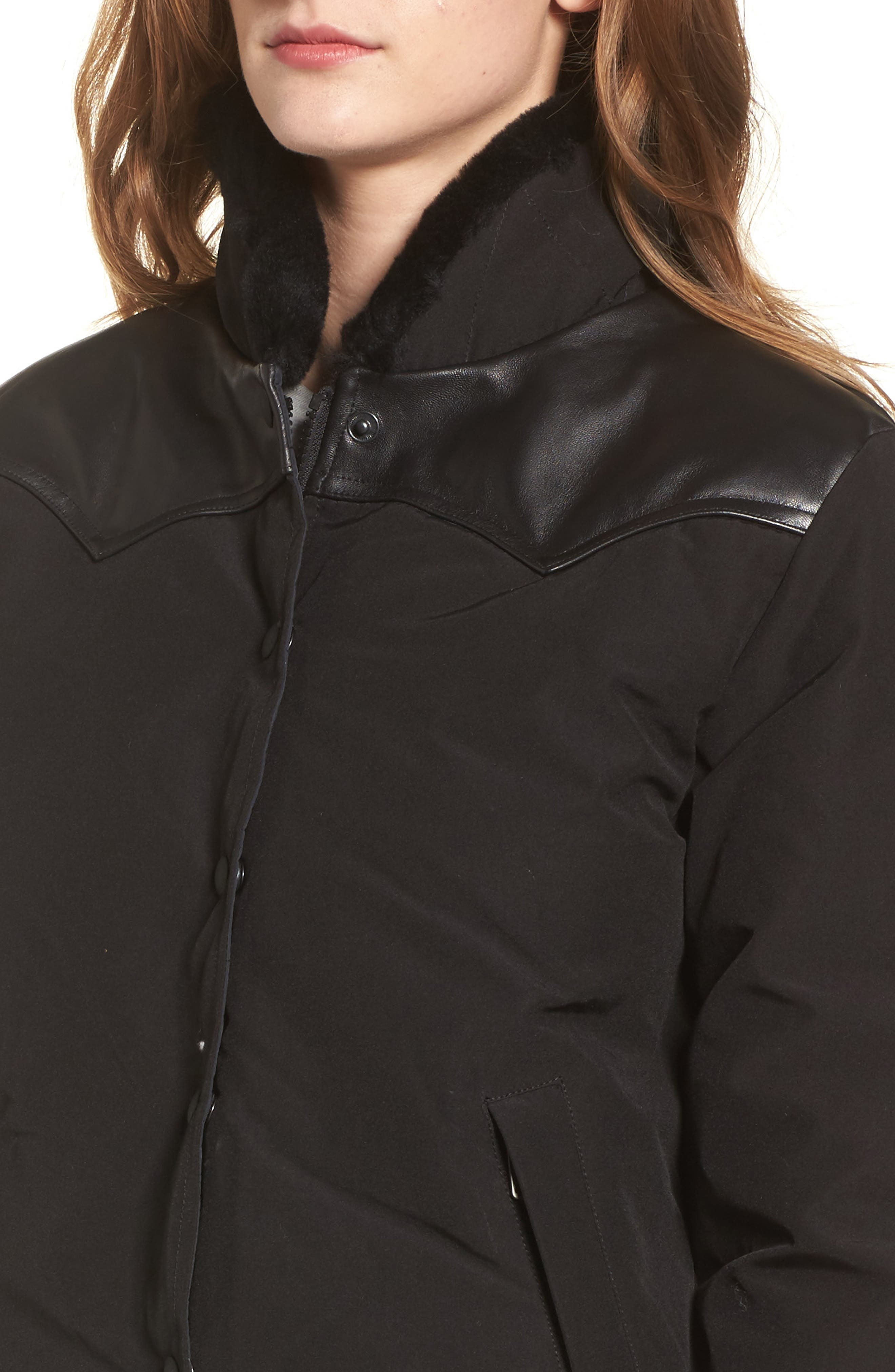 Rockwool Down Jacket with Genuine Coyote Fur Trim,                             Alternate thumbnail 4, color,