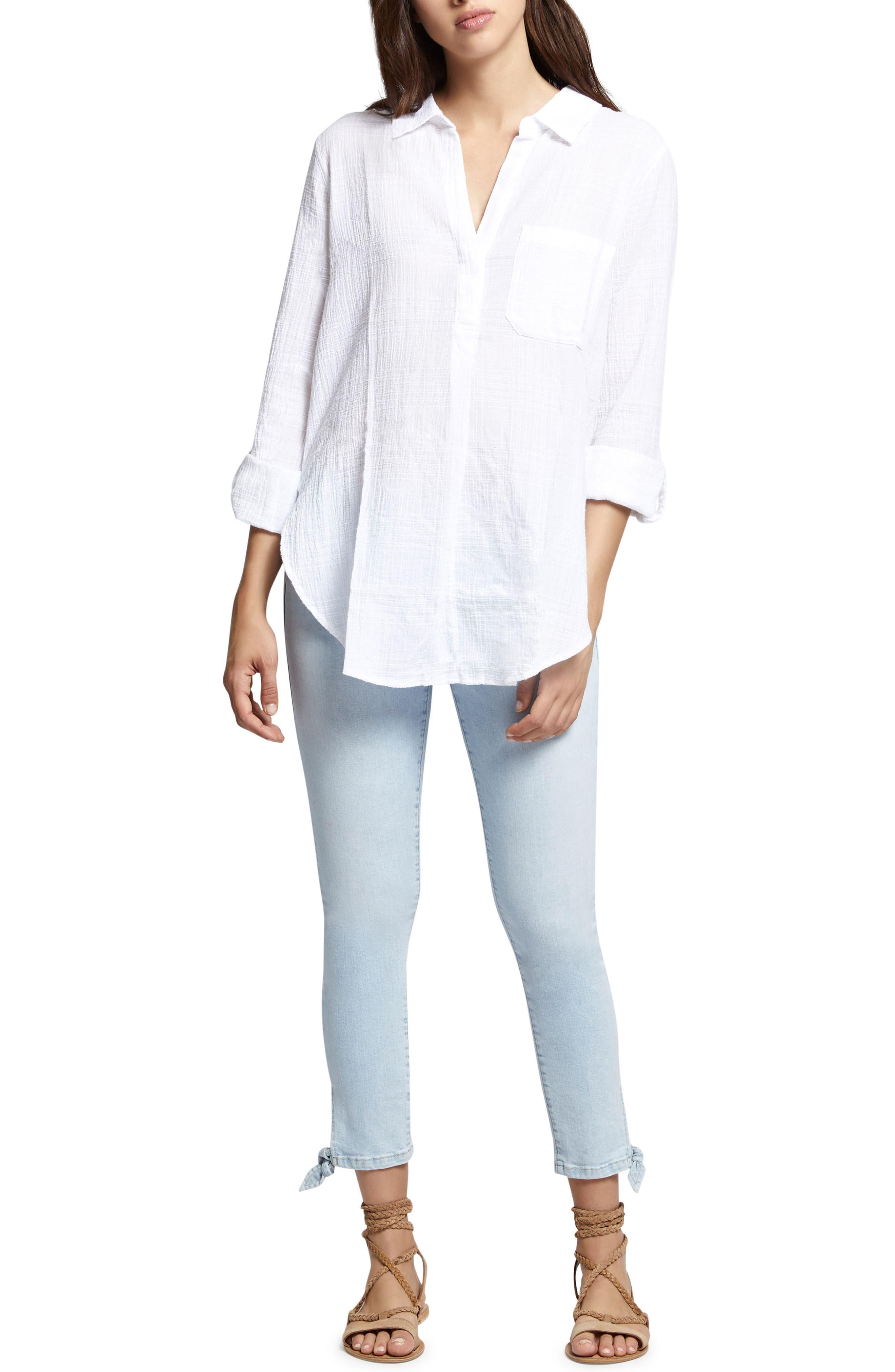 Linen Blend Gauze Tunic Top,                             Alternate thumbnail 4, color,                             114