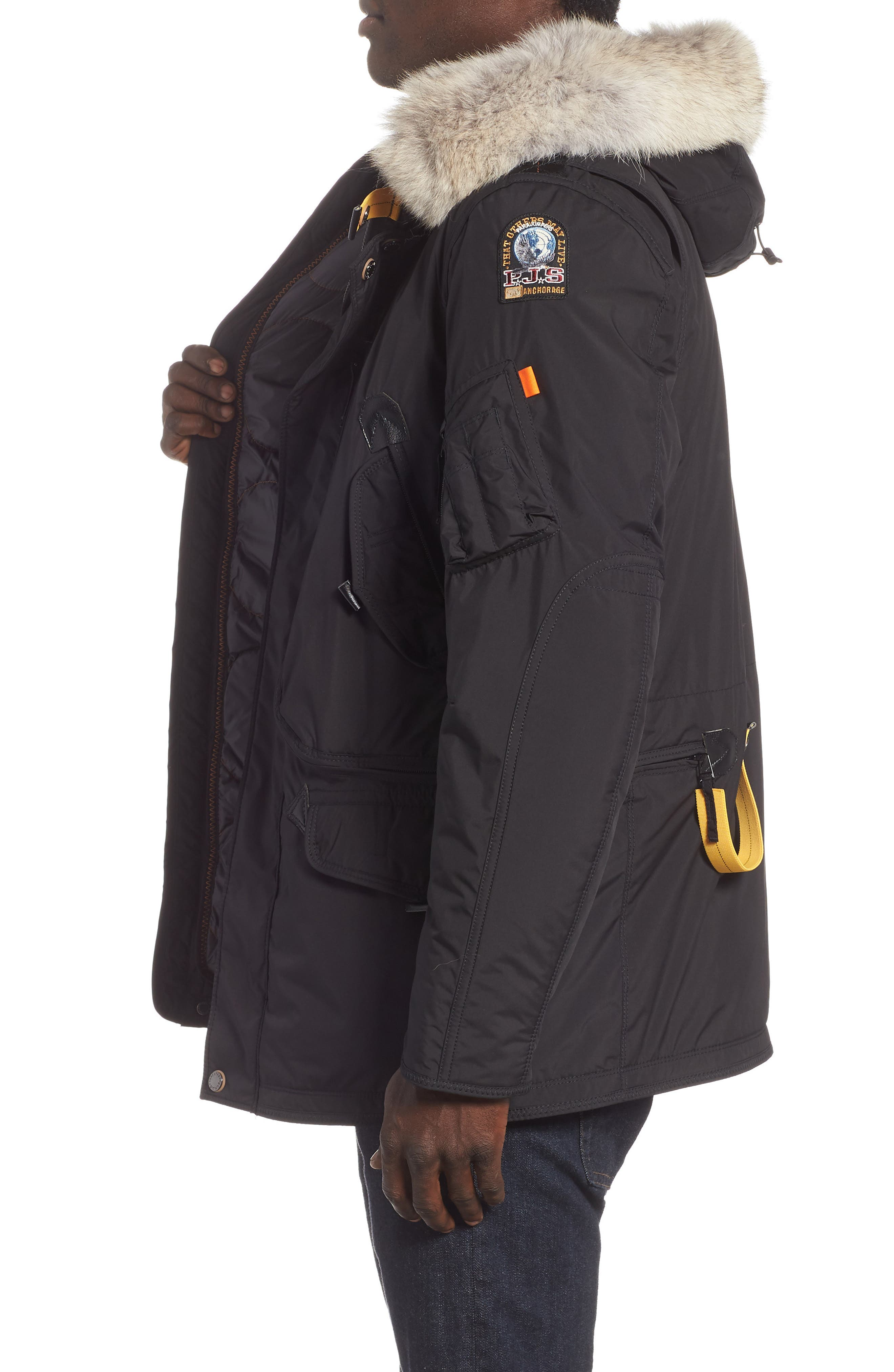 Right Hand Light 700 Fill Power Down Jacket with Genuine Coyote Fur Trim,                             Alternate thumbnail 3, color,                             BLACK