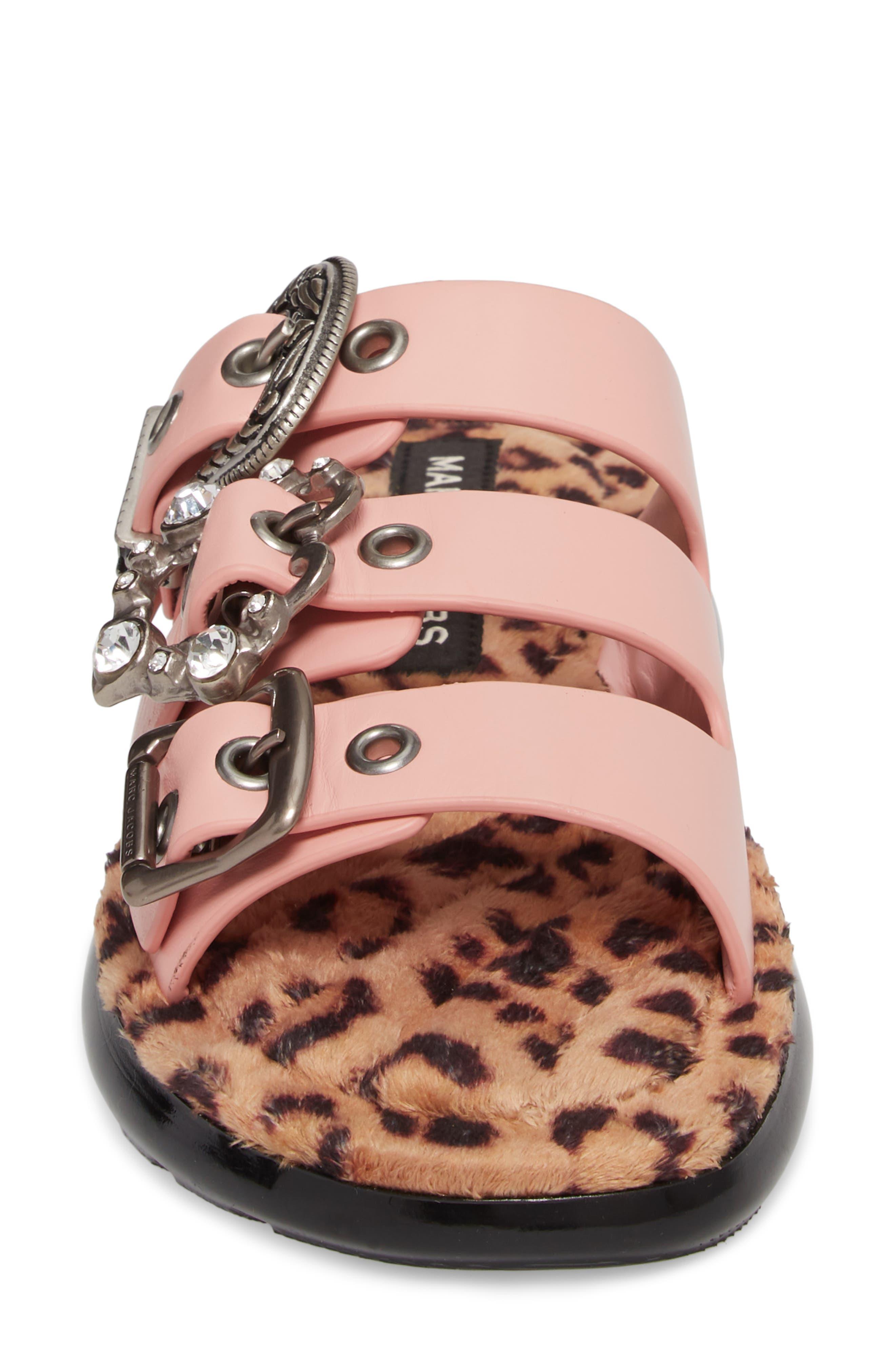 Emerson Faux Fur Sport Sandal,                             Alternate thumbnail 4, color,                             LIGHT PINK MULTI