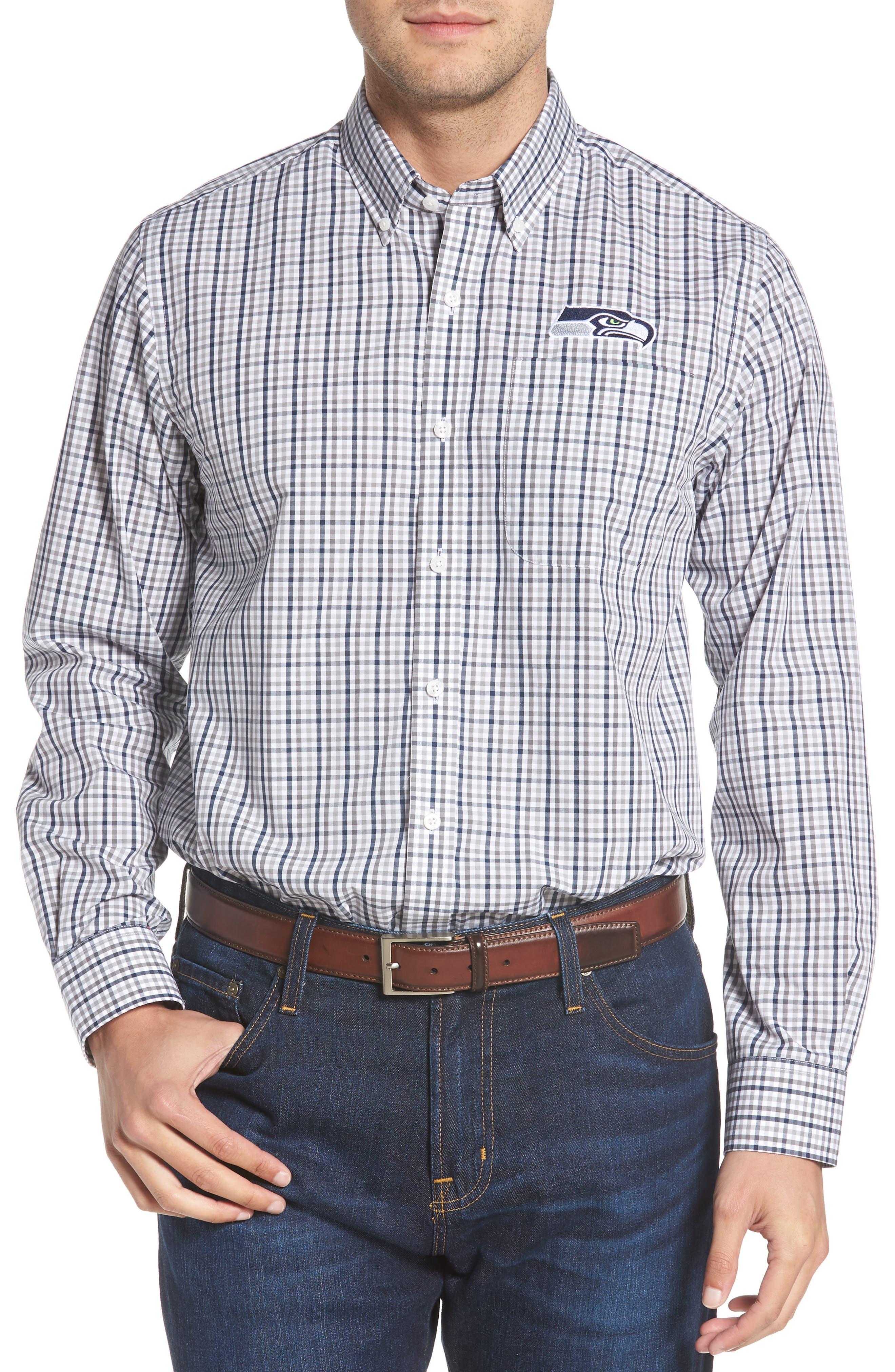 Seattle Seahawks - Gilman Regular Fit Plaid Sport Shirt,                         Main,                         color, LIBERTY NAVY