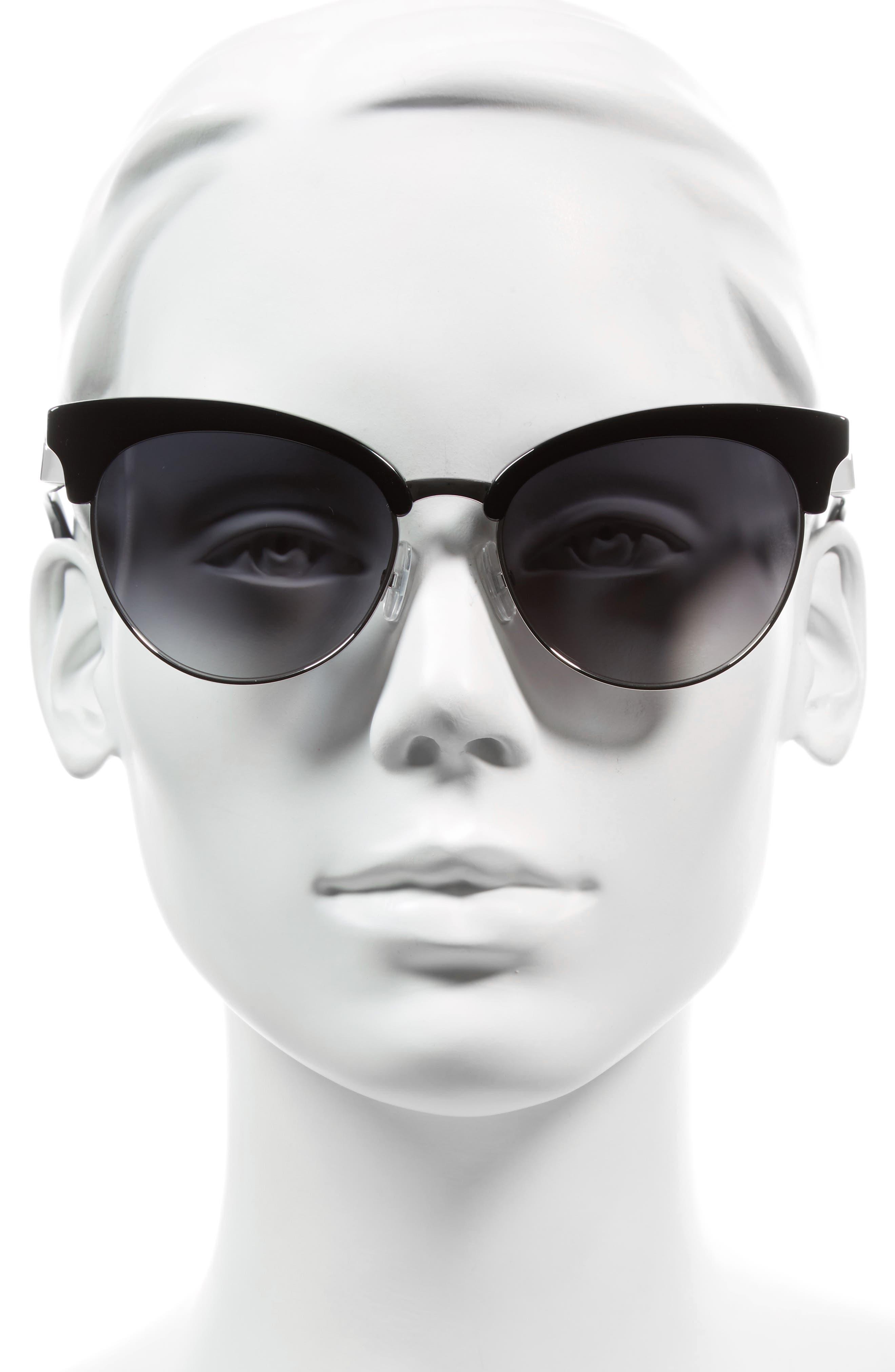 55mm Gradient Lens Cat Eye Sunglasses,                             Alternate thumbnail 2, color,                             001