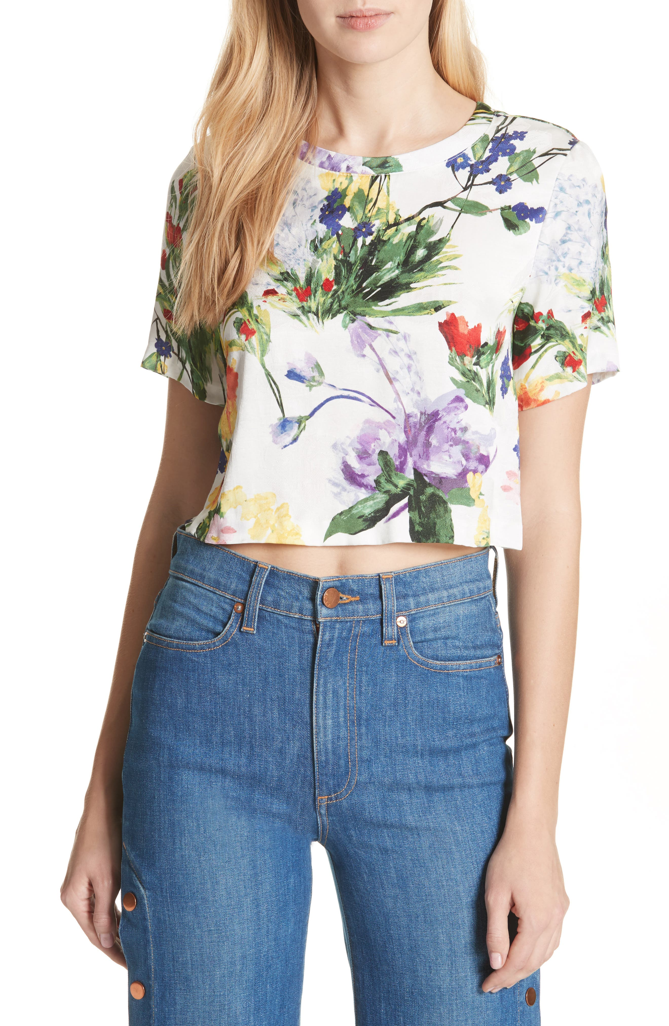 Hellen Boxy Floral Print Tee,                             Main thumbnail 1, color,                             176