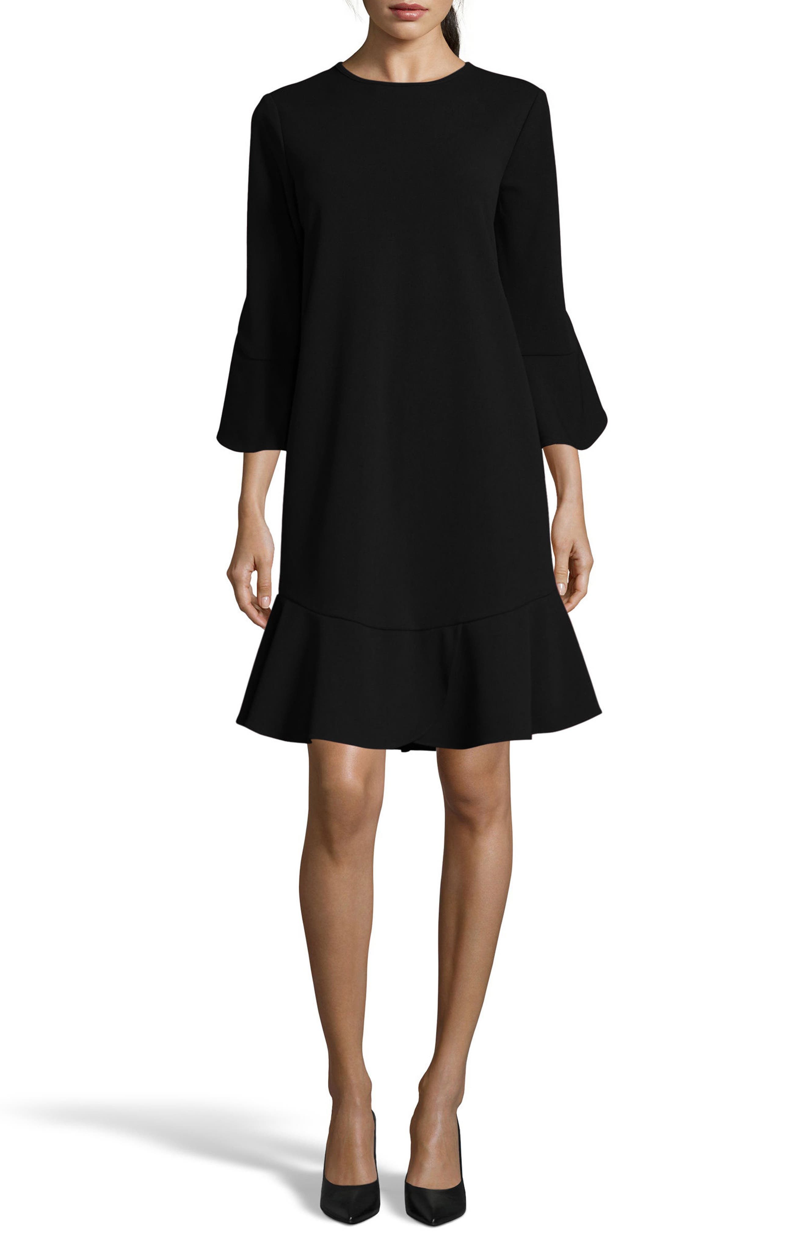 Ruffle Bell Sleeve Shift Dress,                             Main thumbnail 1, color,                             001