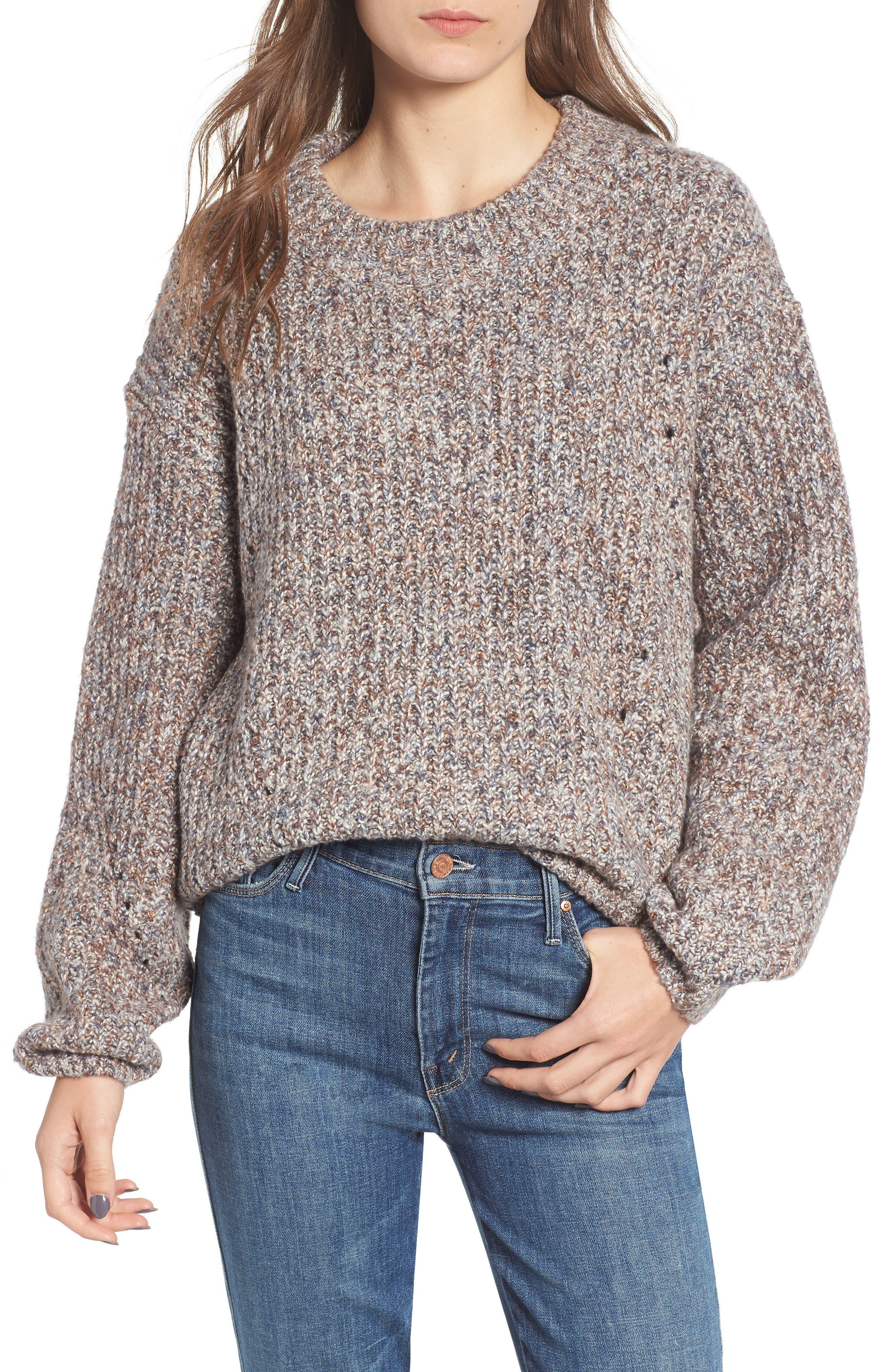Heritage Stitch Sweater,                         Main,                         color, GREY CASTLEROCK MARL