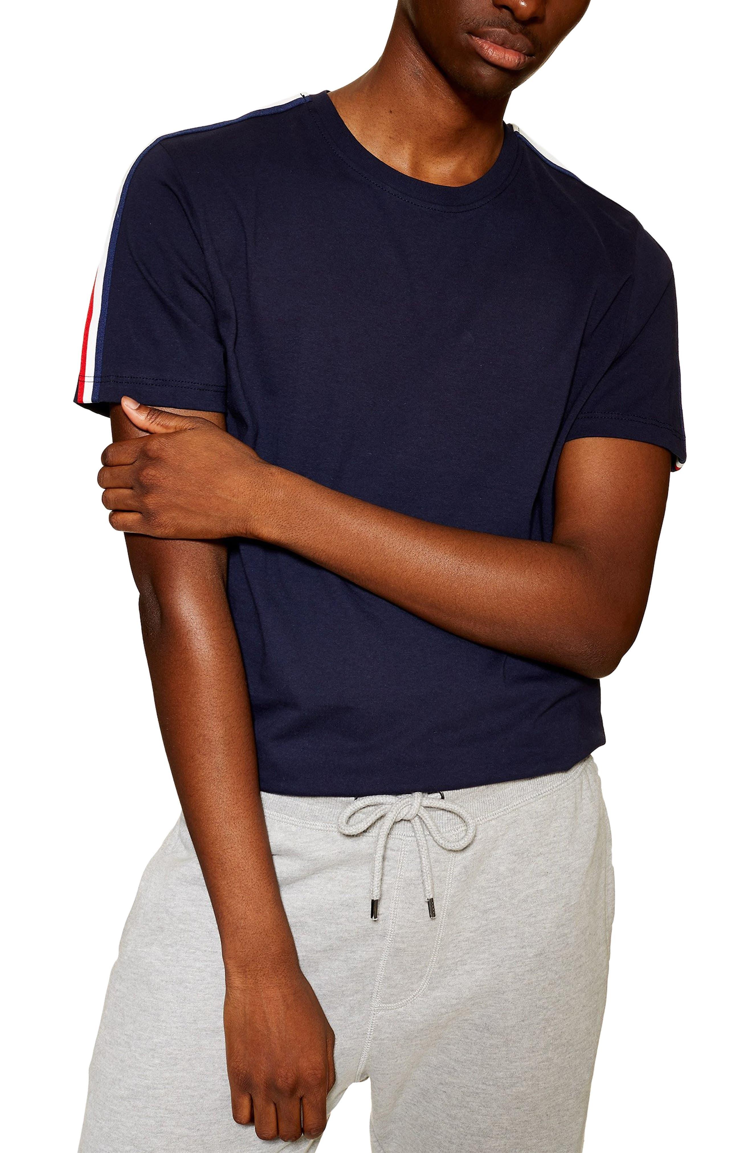 Topman Tape Trim T-Shirt, Blue