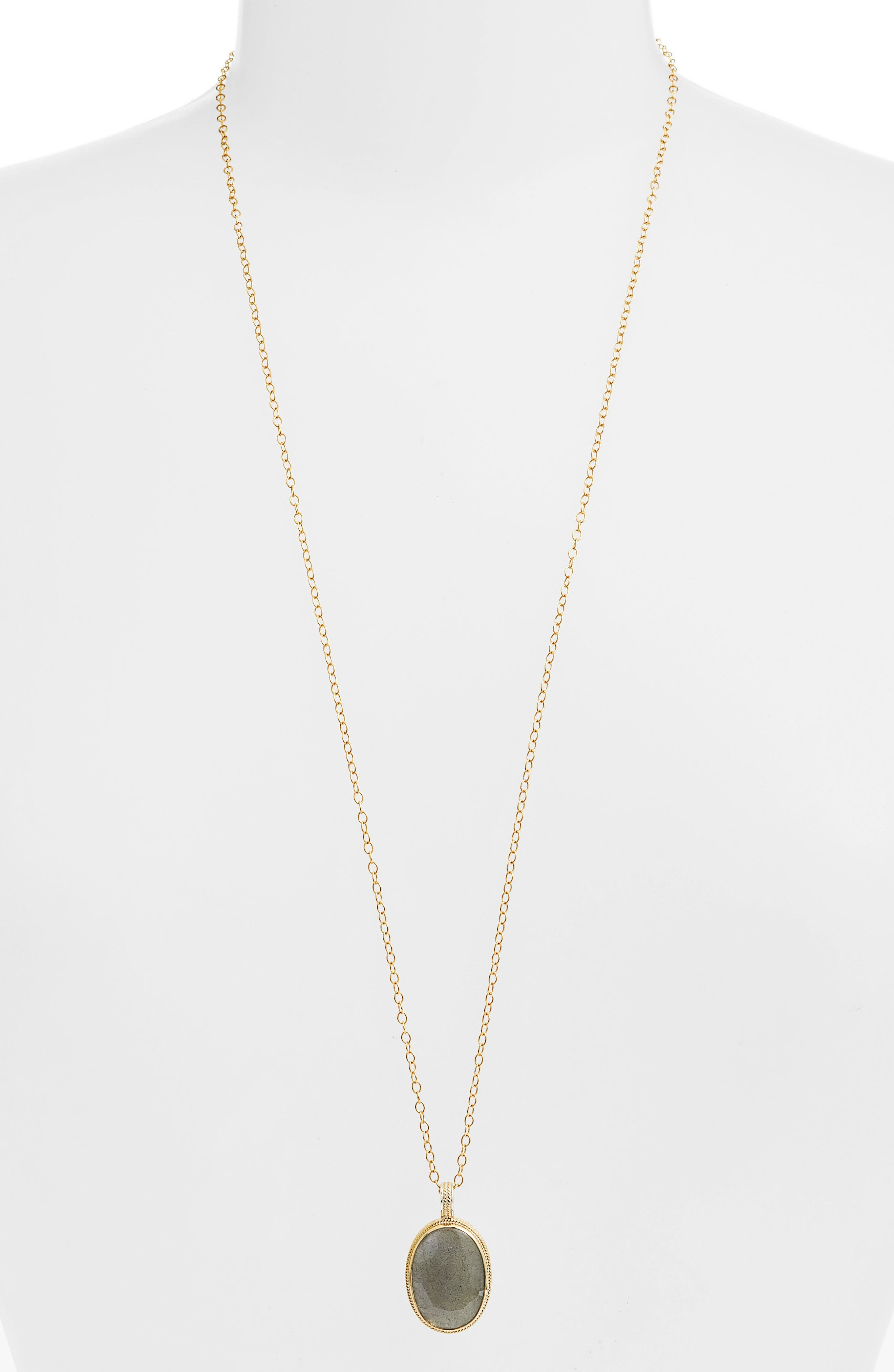 Semiprecious Stone Pendant Necklace,                         Main,                         color, GOLD/ LABRADORITE