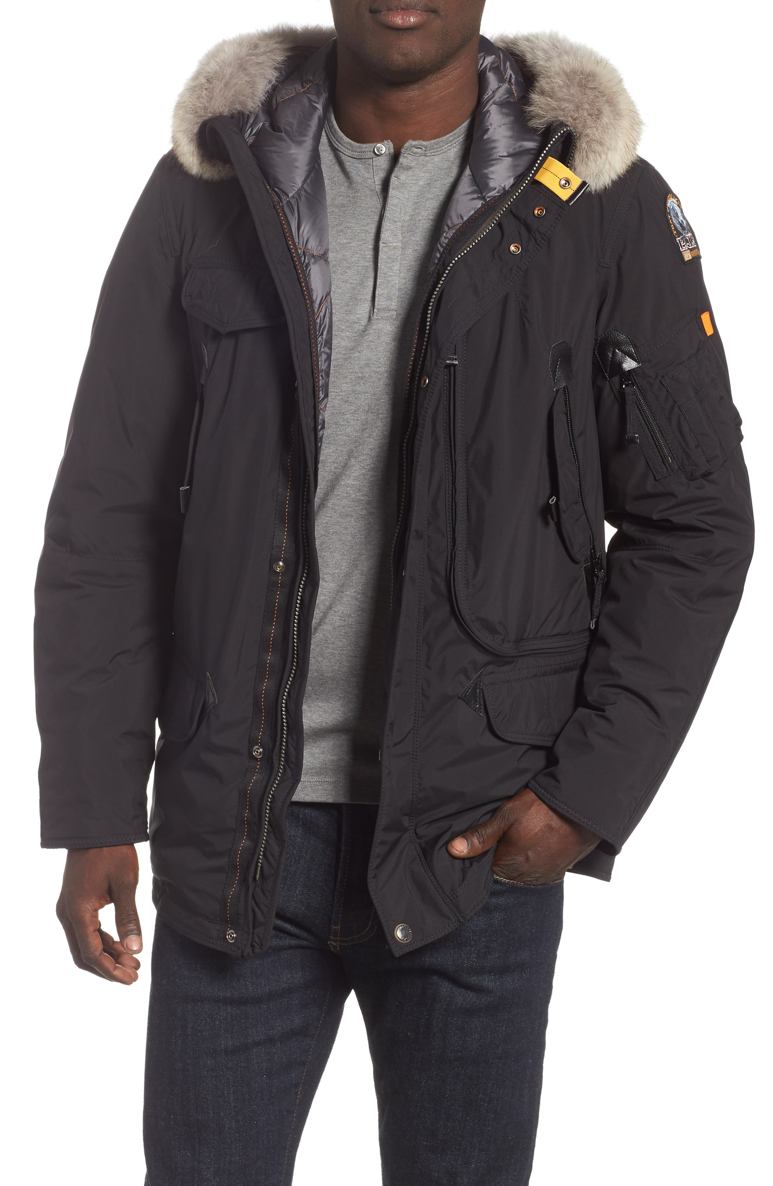 Right Hand Light 700 Fill Power Down Jacket with Genuine Coyote Fur Trim,                             Main thumbnail 1, color,                             BLACK