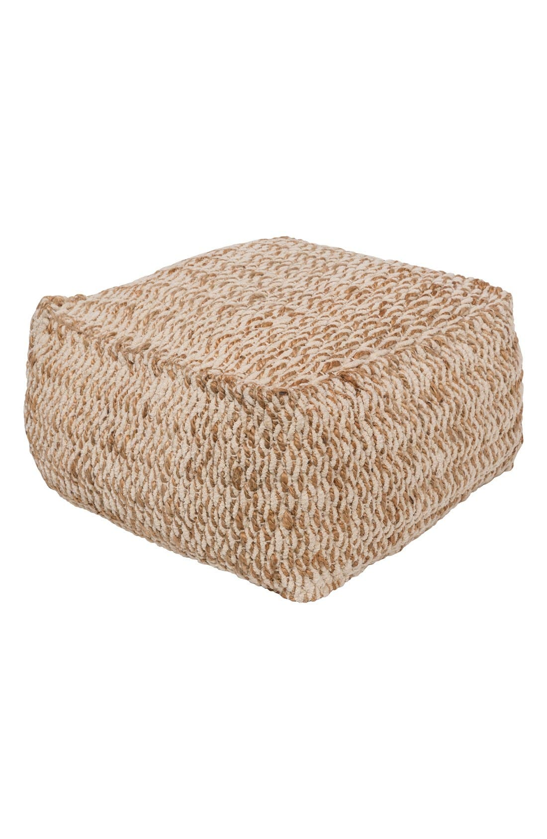 'Oak Cove' Jute & Cotton Pouf,                             Main thumbnail 1, color,                             250