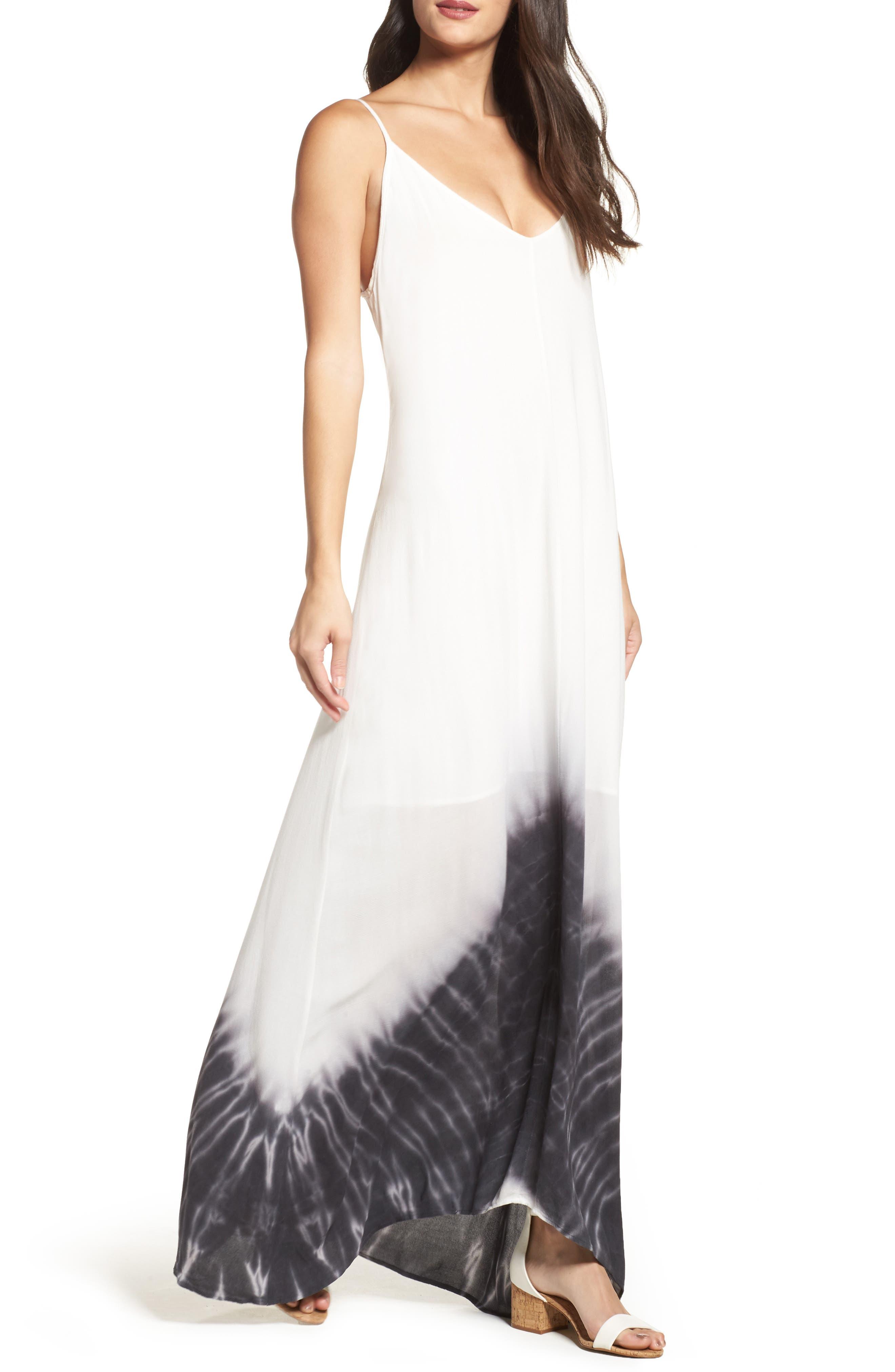 Border Print Crepe A-Line Maxi Dress,                             Alternate thumbnail 2, color,                             100