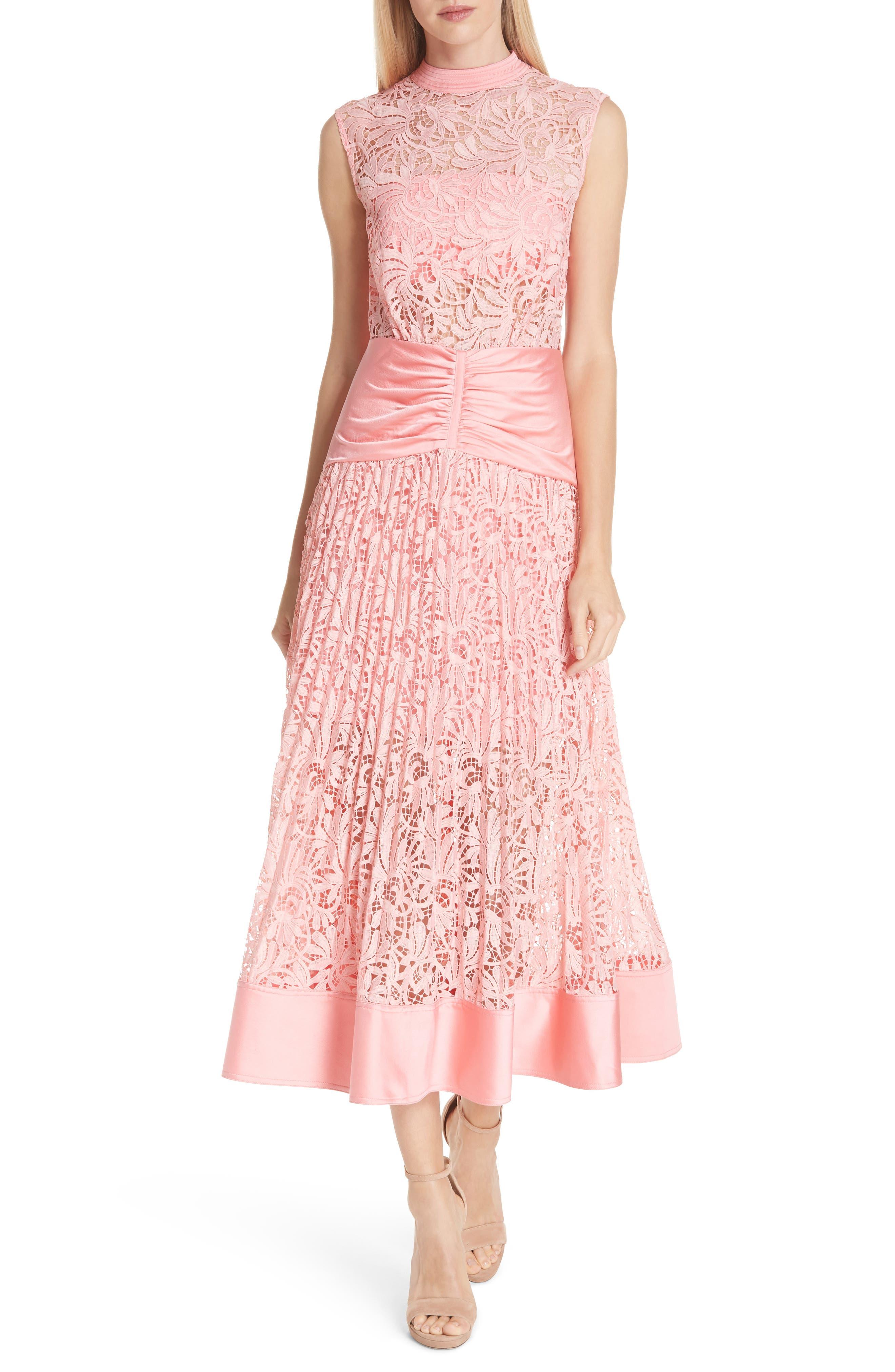 Floral Lace Sleeveless Midi Dress,                             Main thumbnail 1, color,                             650