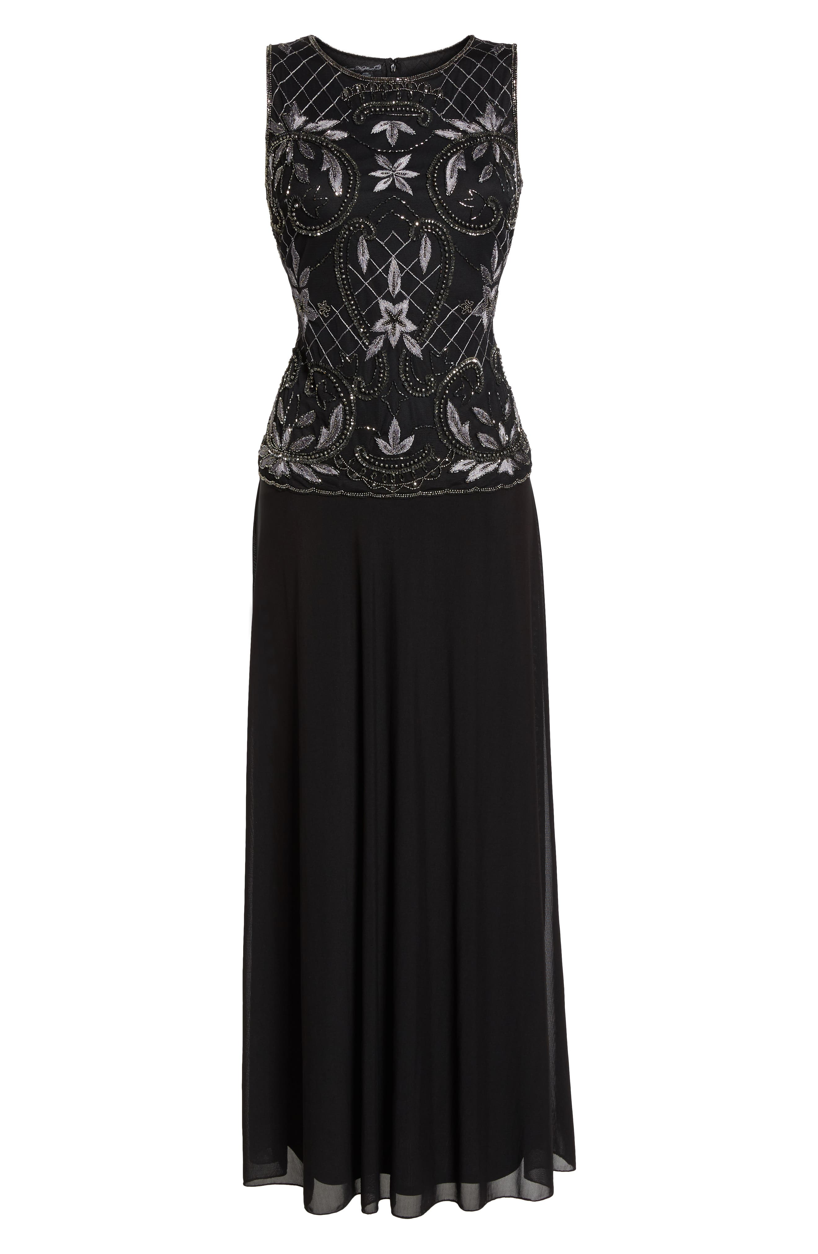 Embellished Mock Two-Piece Gown,                             Alternate thumbnail 6, color,                             008
