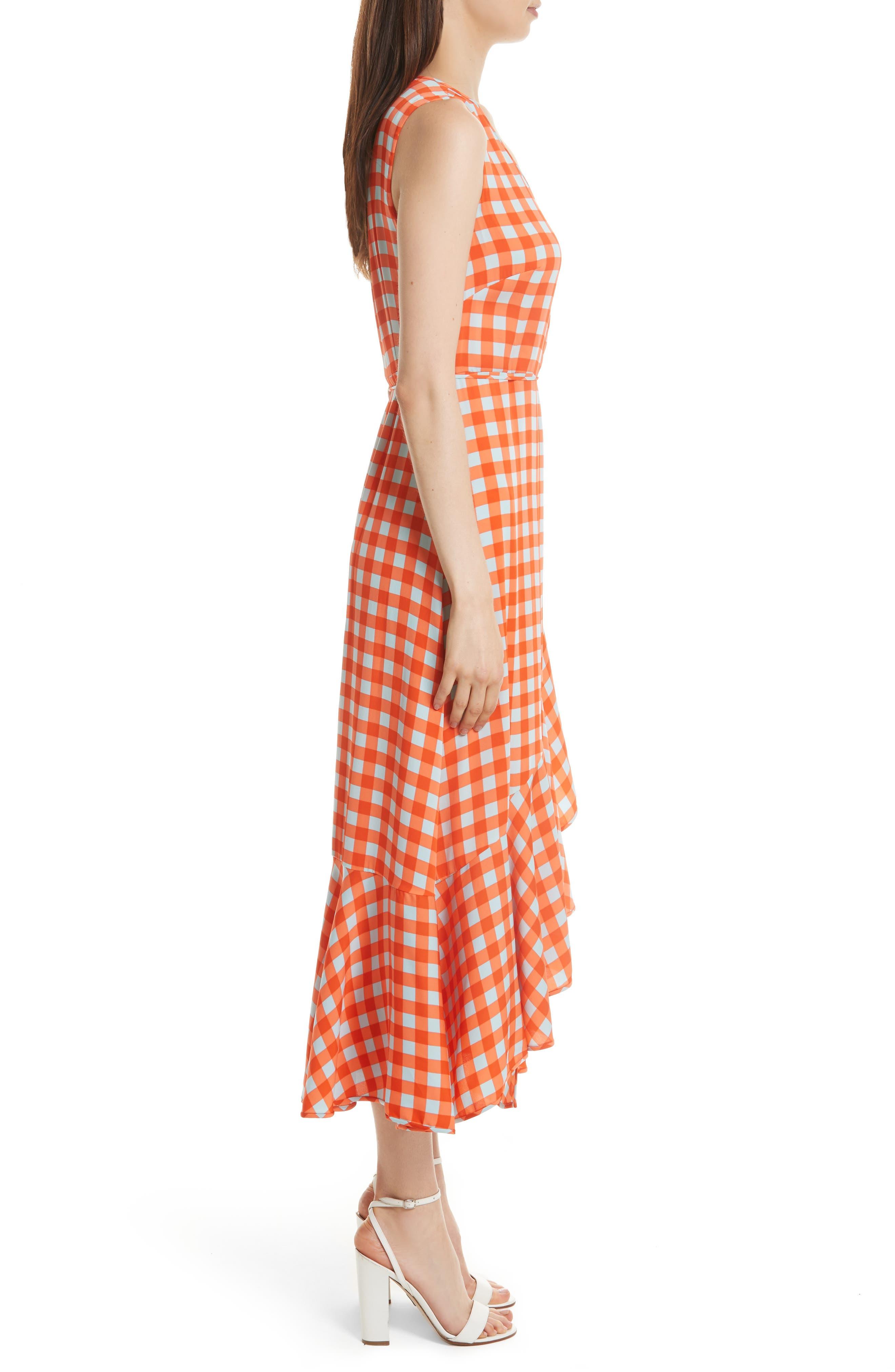 Check Ruffle Hem Wrap Dress,                             Alternate thumbnail 3, color,                             810