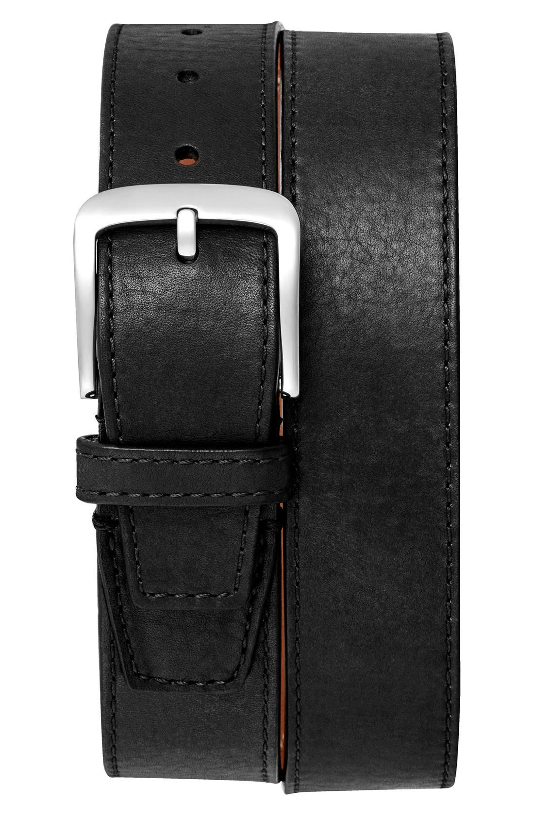 Leather Belt,                         Main,                         color, BLACK
