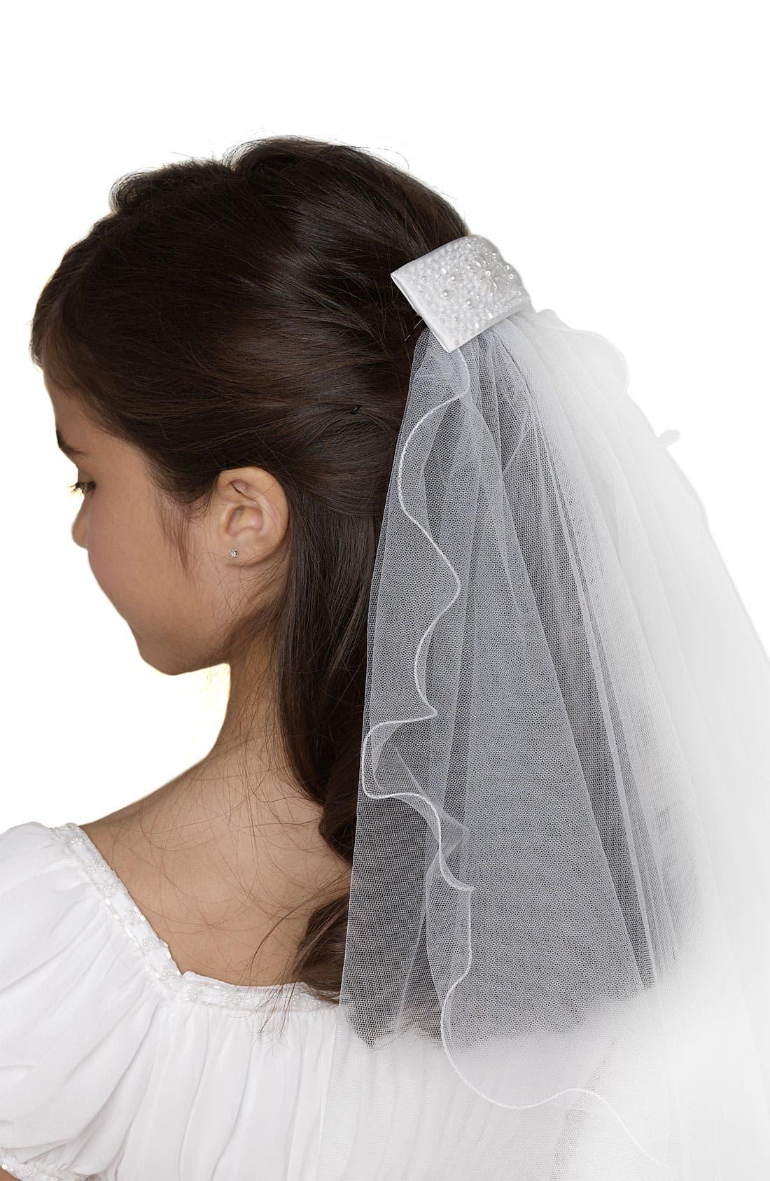 Beaded Hair Clip with Veil,                         Main,                         color, 100