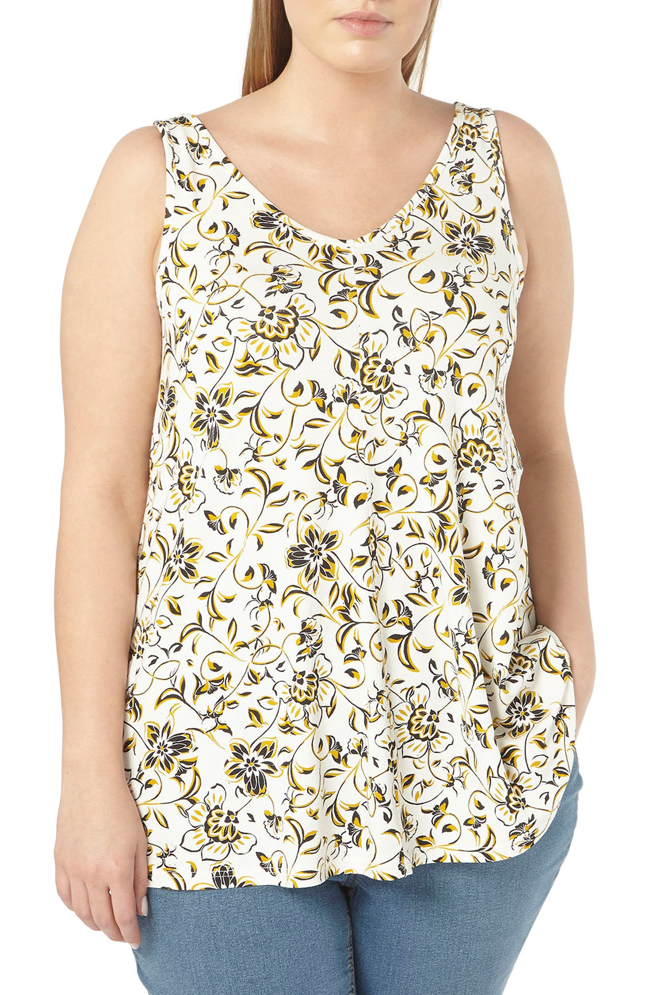 Floral Print Jersey Tank,                         Main,                         color, 110