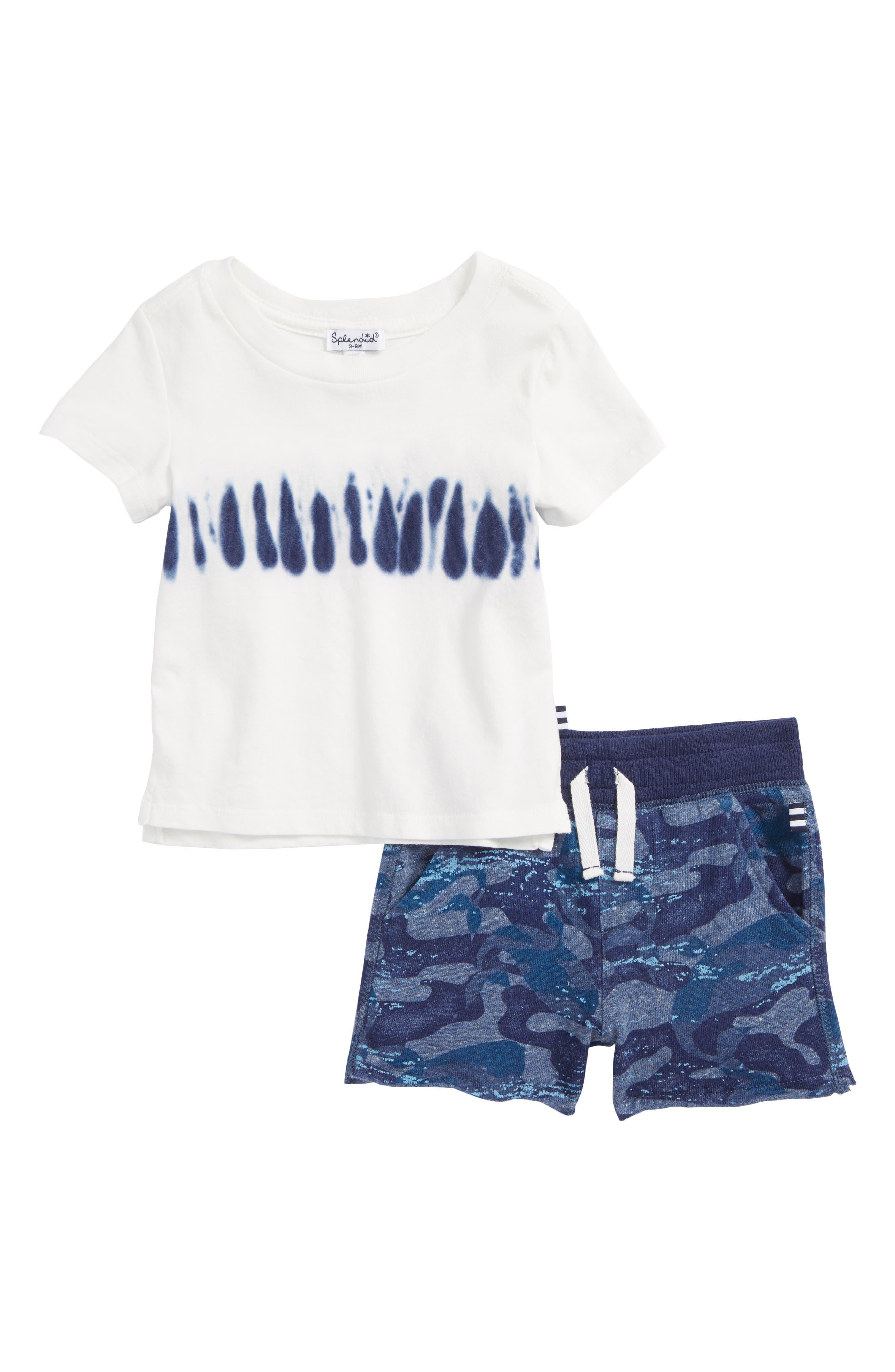 Whale Print T-Shirt & Shorts Set,                         Main,                         color, 400