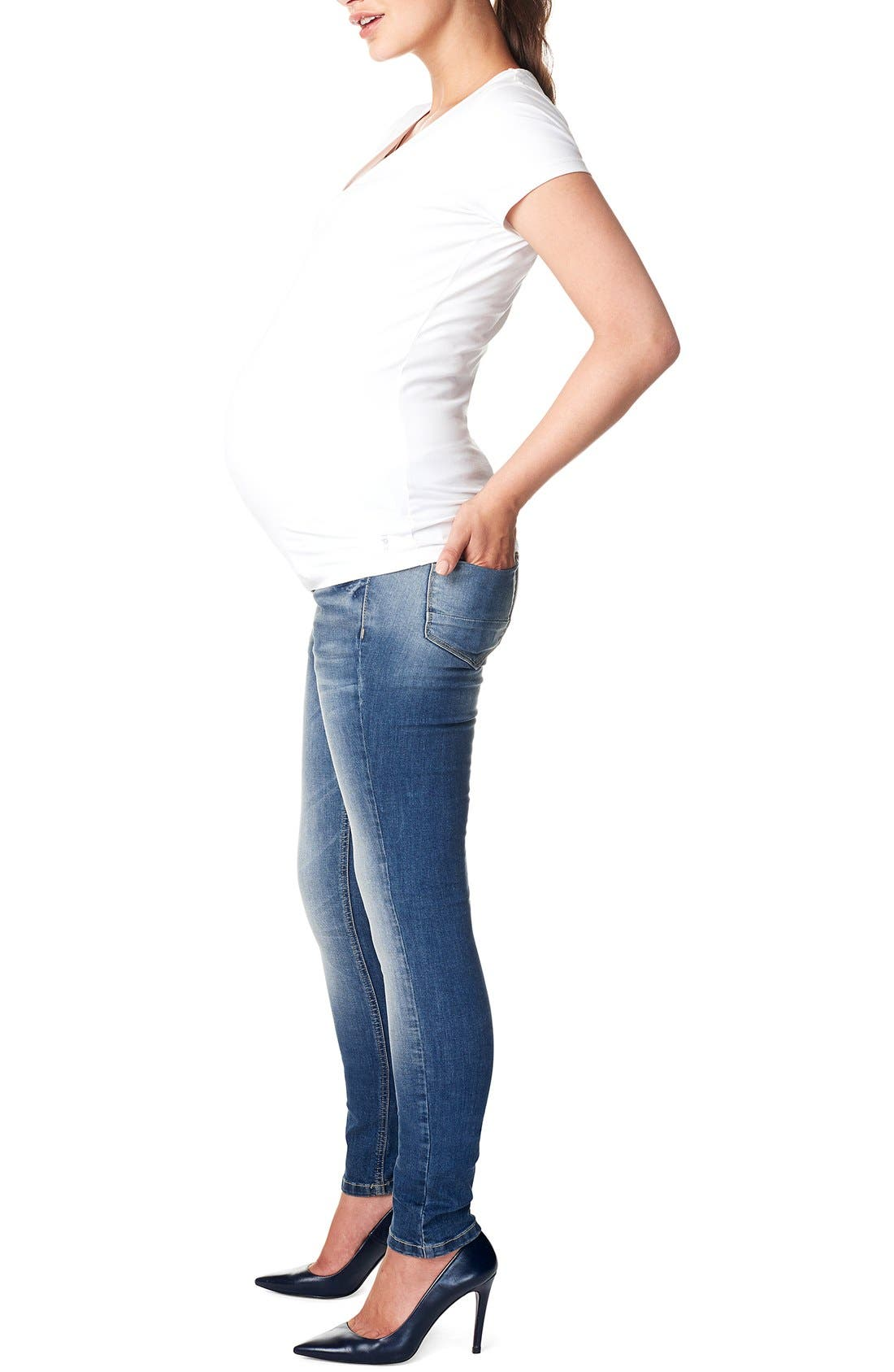 NOPPIES,                             'Tara' Over the Belly Skinny Maternity Jeans,                             Alternate thumbnail 3, color,                             STONE WASH