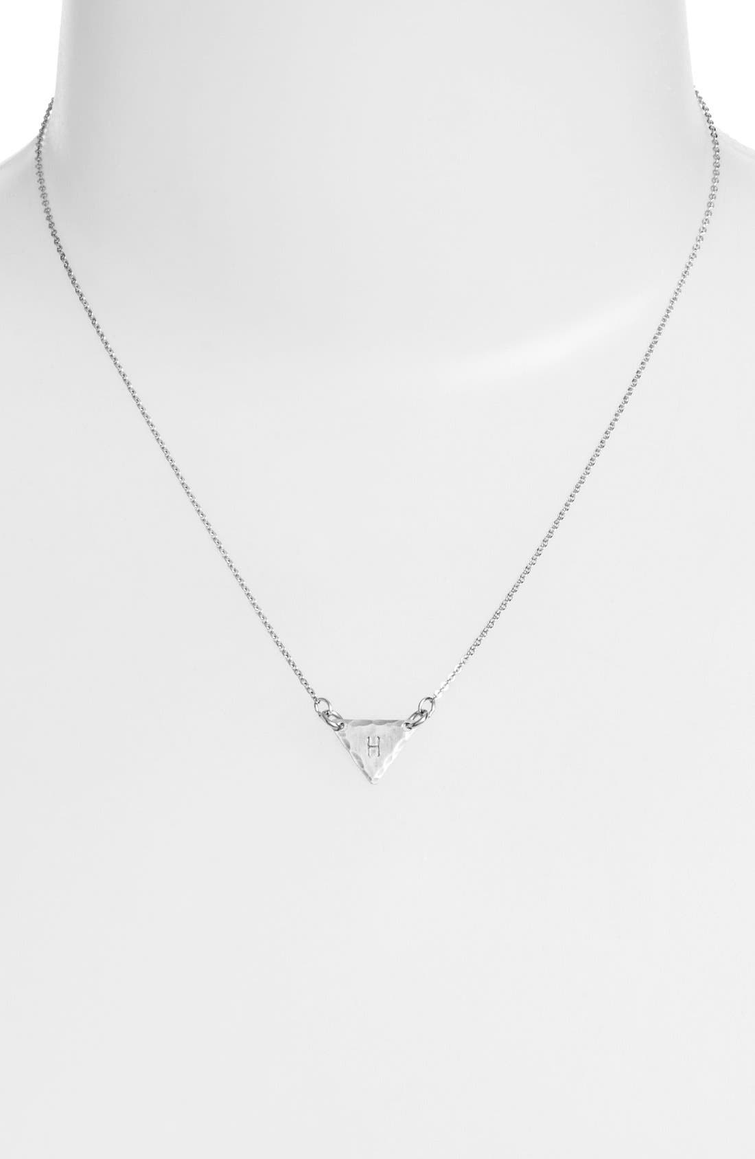 Sterling Silver Initial Mini Triangle Necklace,                             Alternate thumbnail 34, color,