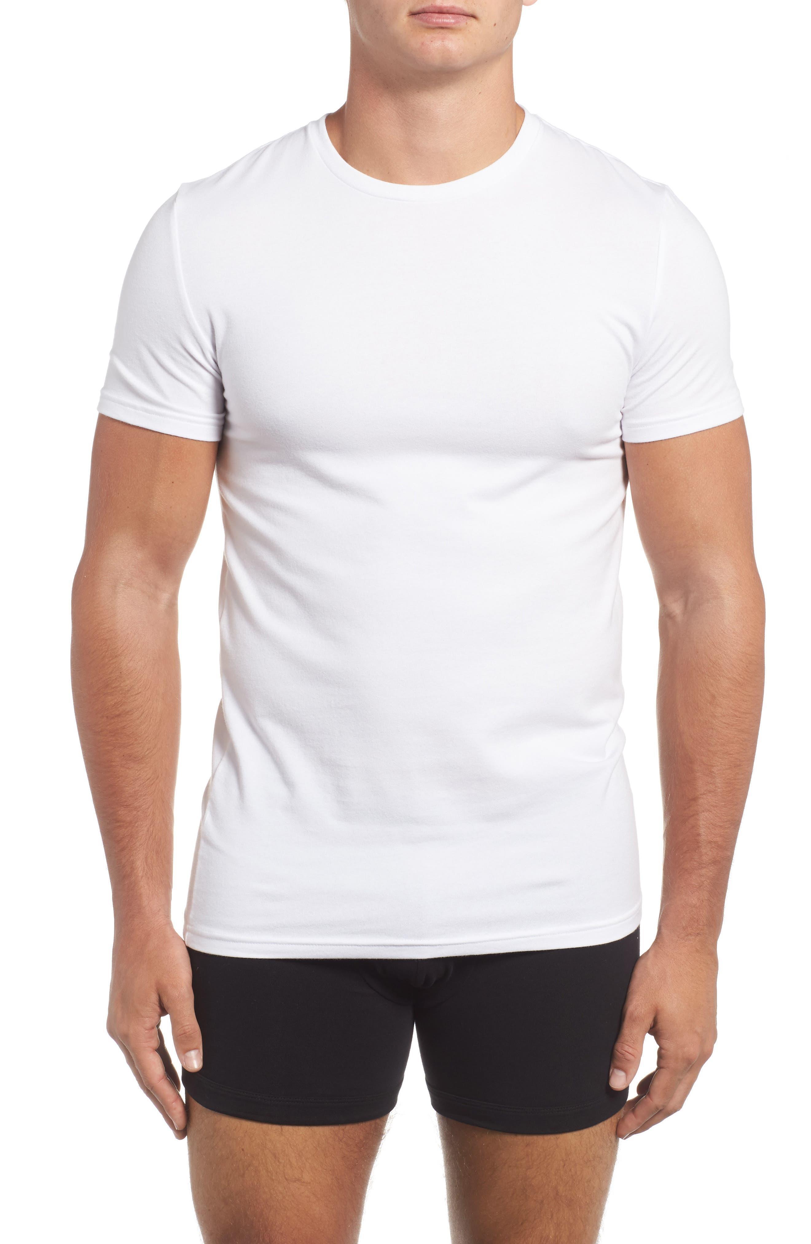Trim Fit 3-Pack Stretch Cotton Crewneck T-Shirt,                             Alternate thumbnail 2, color,                             WHITE