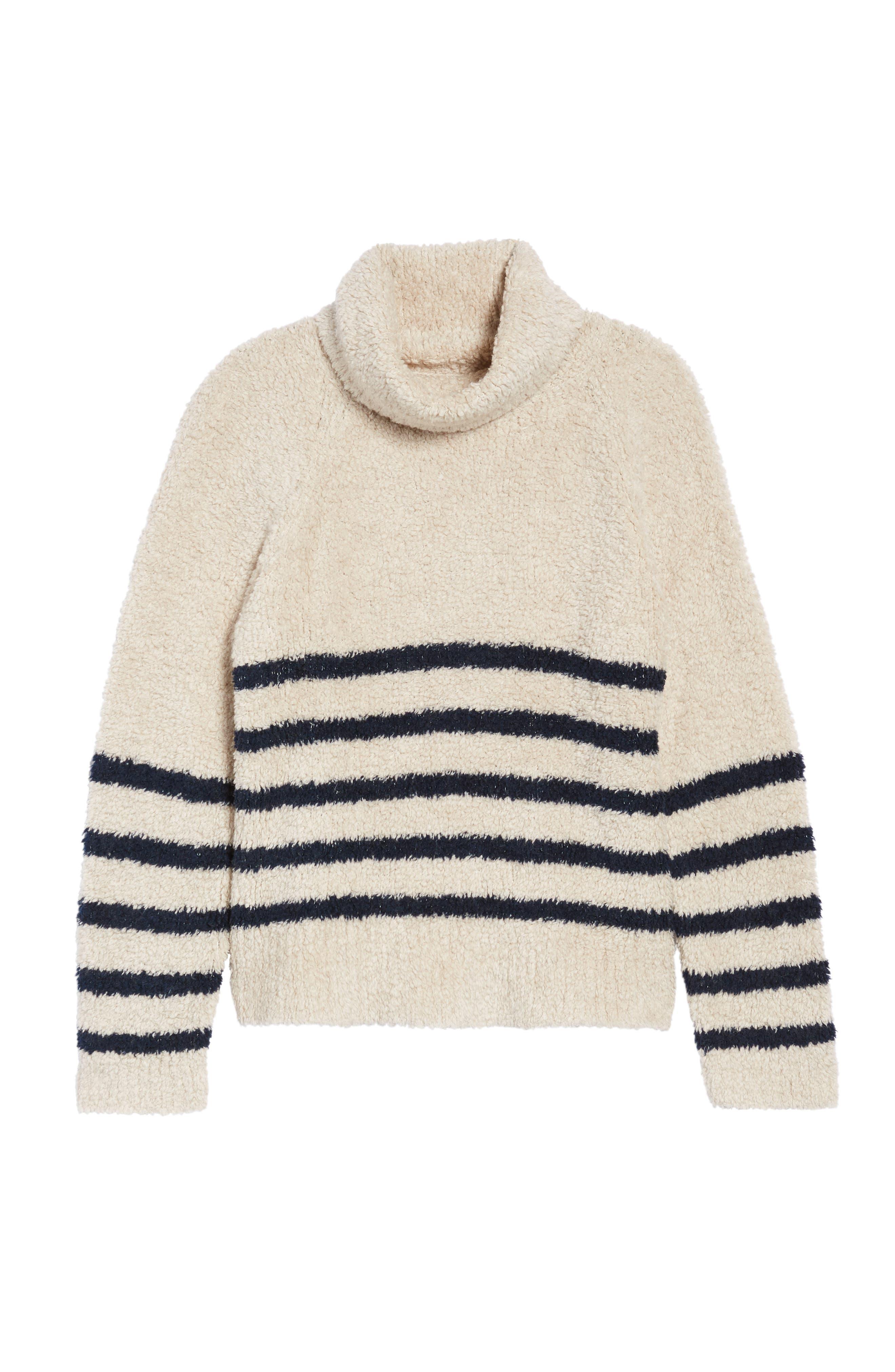 Mariner Stripe Turtleneck Sweater,                             Alternate thumbnail 6, color,                             090