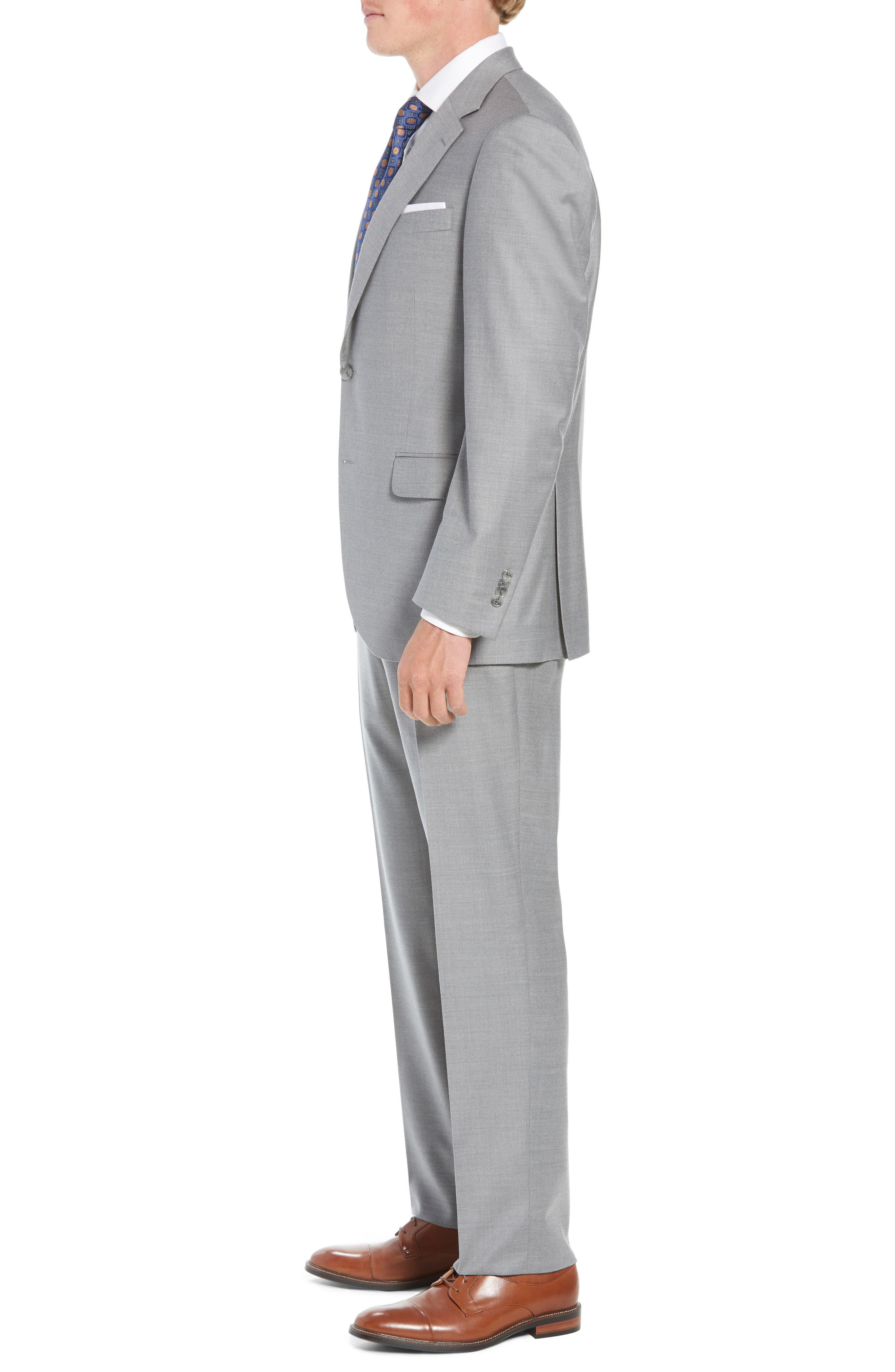 Flynn Classic Fit Solid Wool Suit,                             Alternate thumbnail 3, color,                             LIGHT GREY