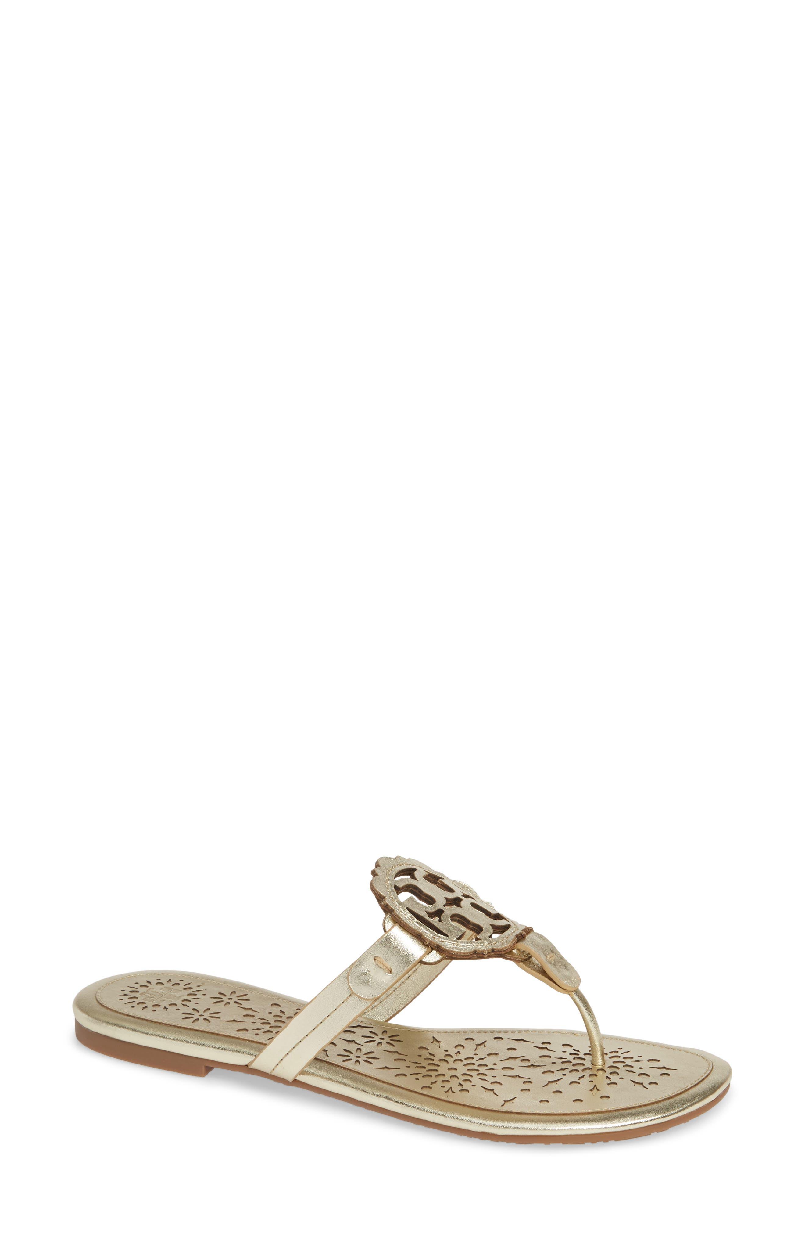 Tory Burch Miller Scalloped Medallion Sandal, Metallic
