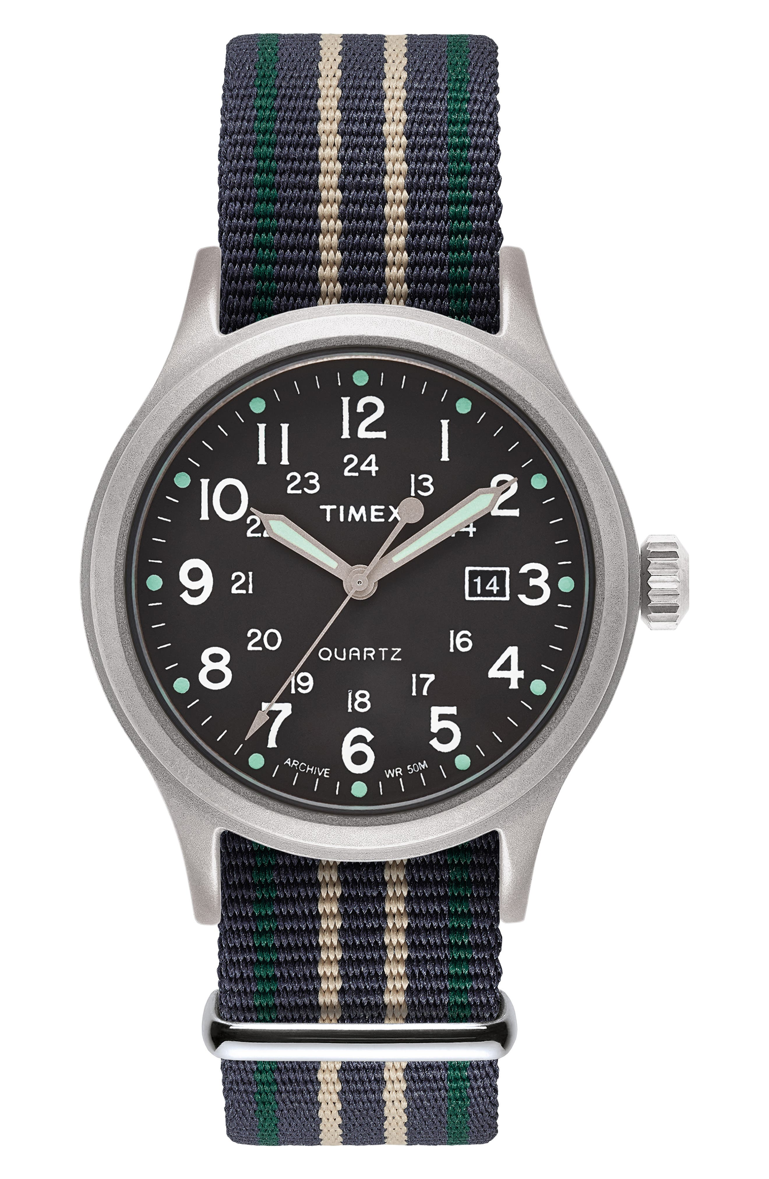 Allied NATO Strap Watch, 40mm,                             Main thumbnail 1, color,                             SILVER/ GREEN/ BLUE