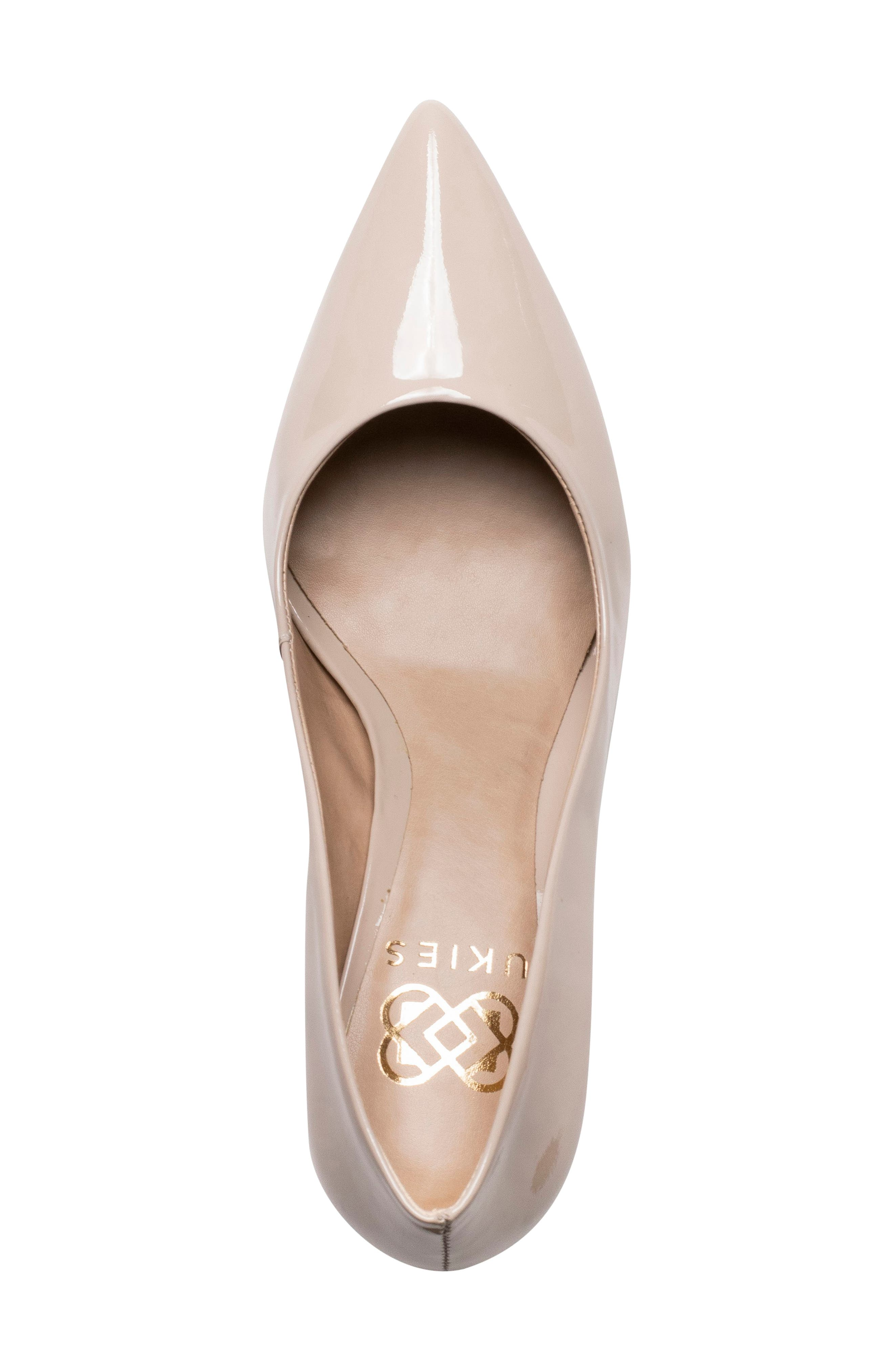 Anya Pointy Toe Pump,                             Alternate thumbnail 3, color,                             NUDE PATENT LEATHER