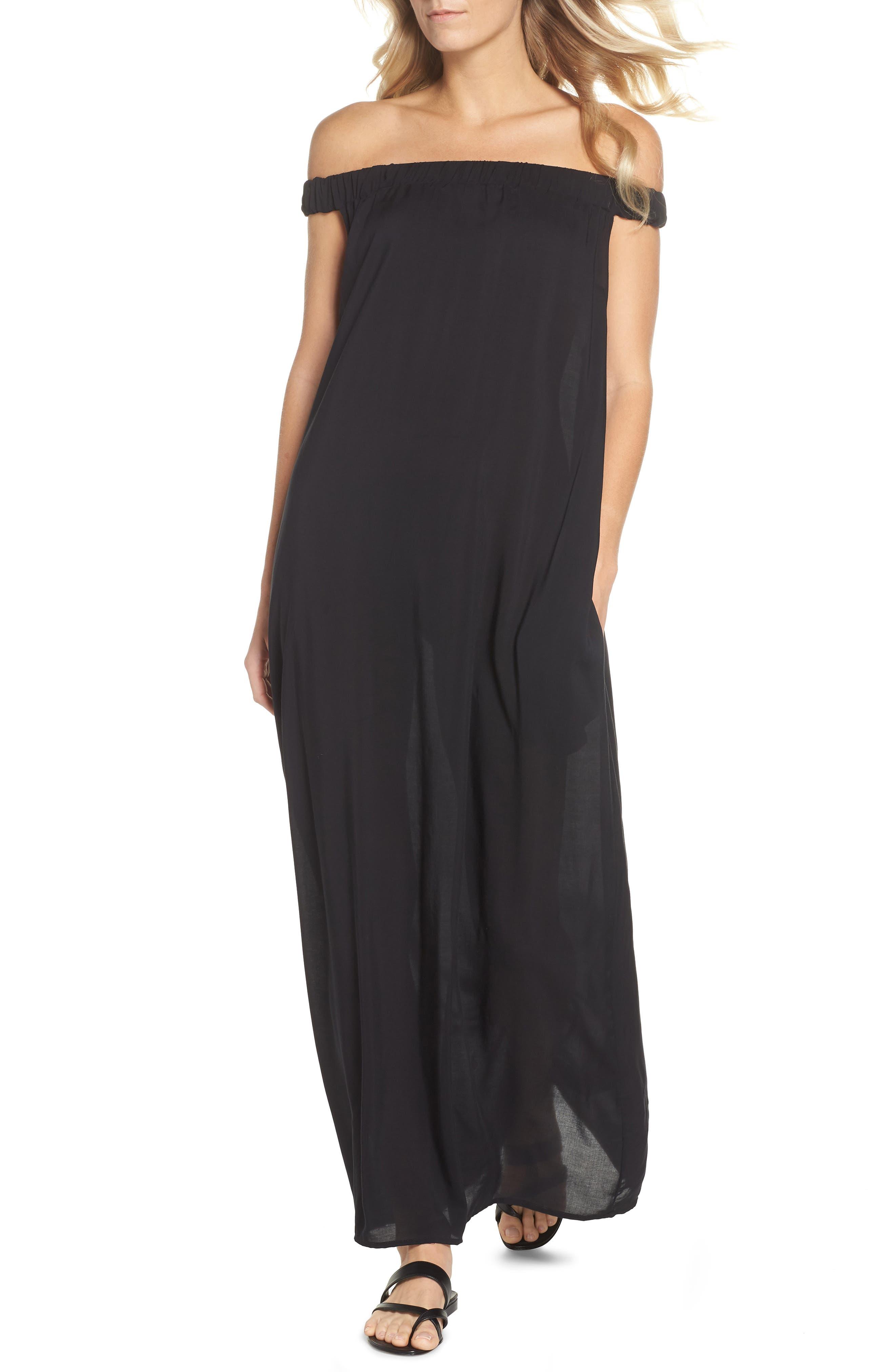 Elan Off The Shoulder Cover-Up Maxi Dress, Black
