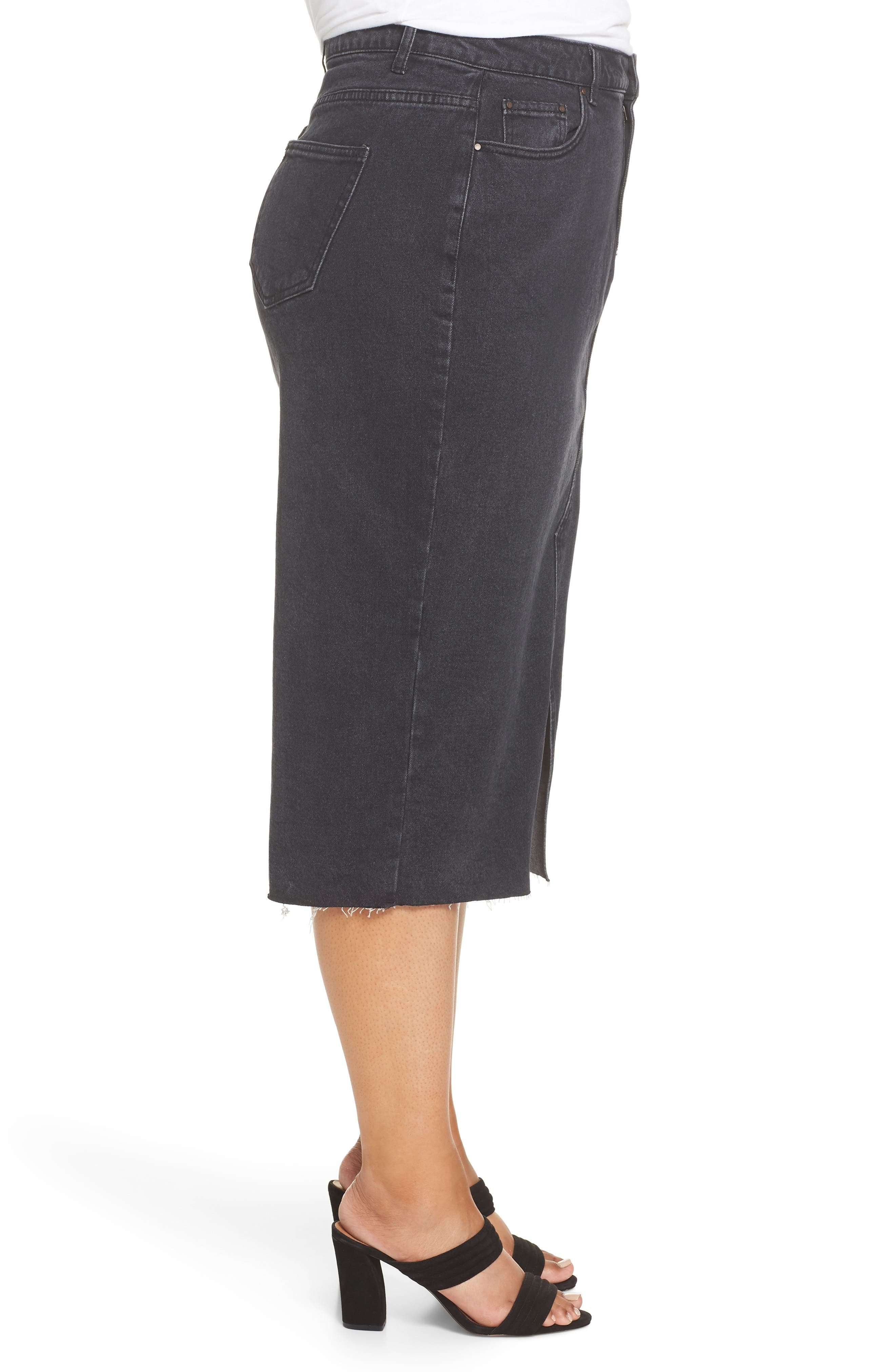 Denim Pencil Skirt,                             Alternate thumbnail 3, color,                             001