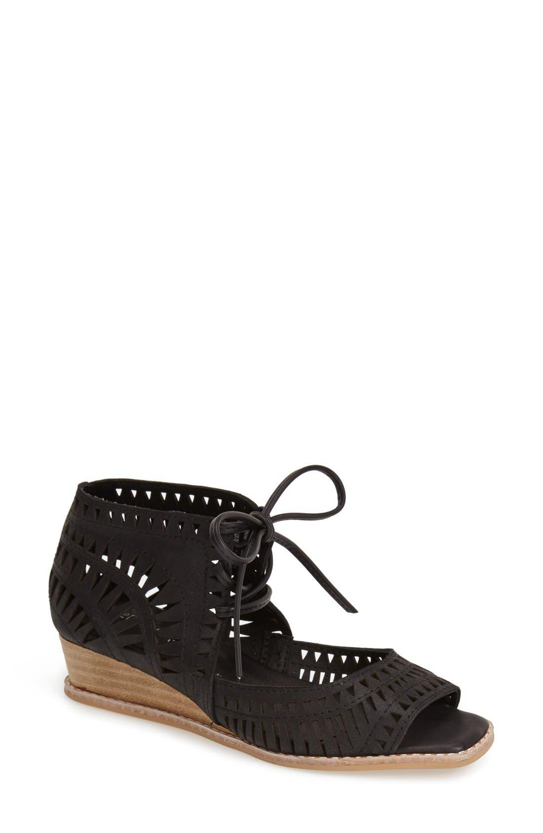 'Rodillo' Wedge Sandal, Main, color, BLACK LEATHER