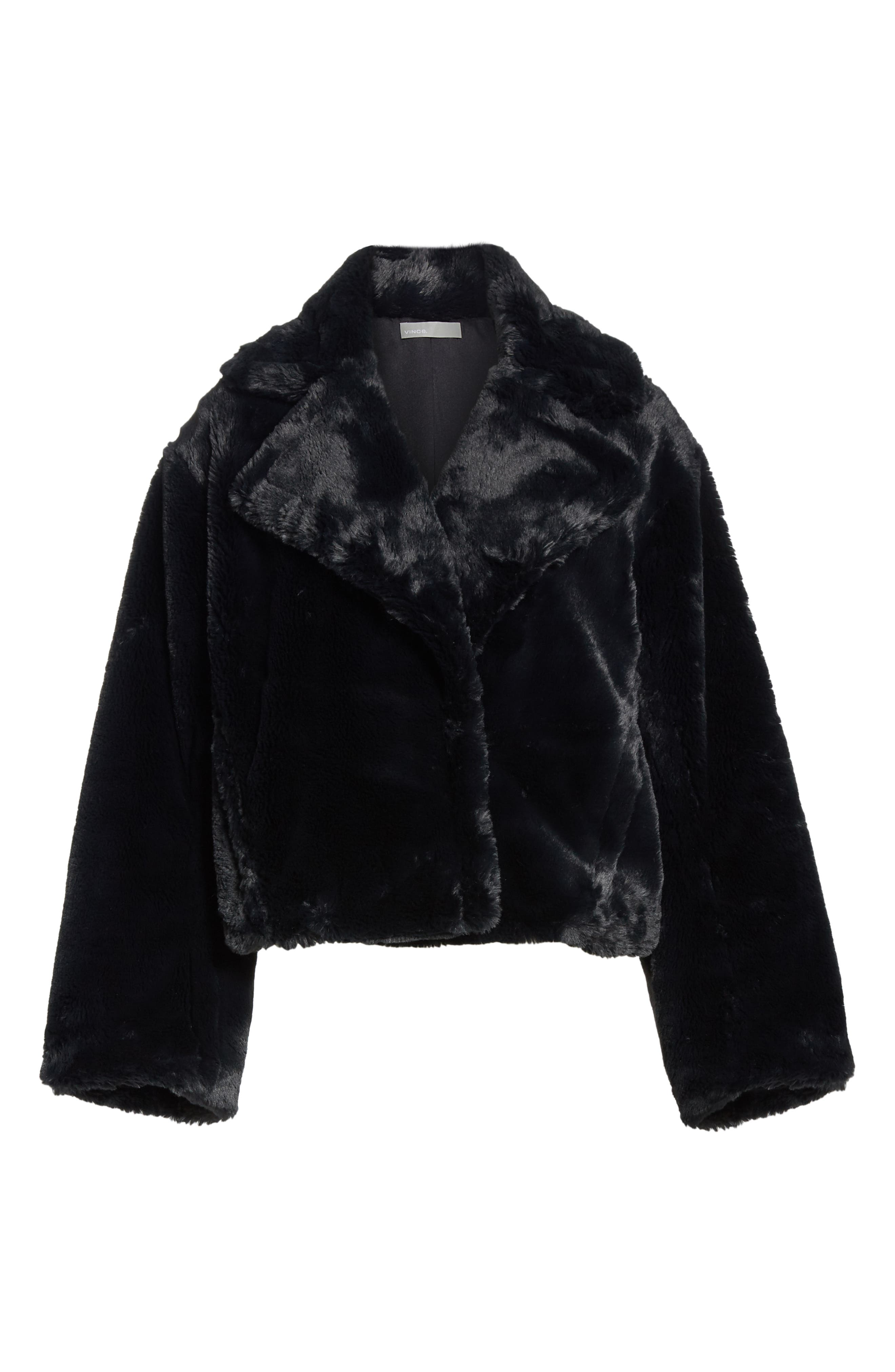 Plush Faux Fur Coat,                             Alternate thumbnail 6, color,                             IRON