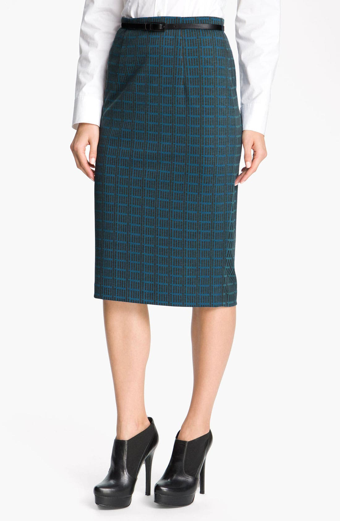 Belted Ponte Skirt,                             Main thumbnail 8, color,