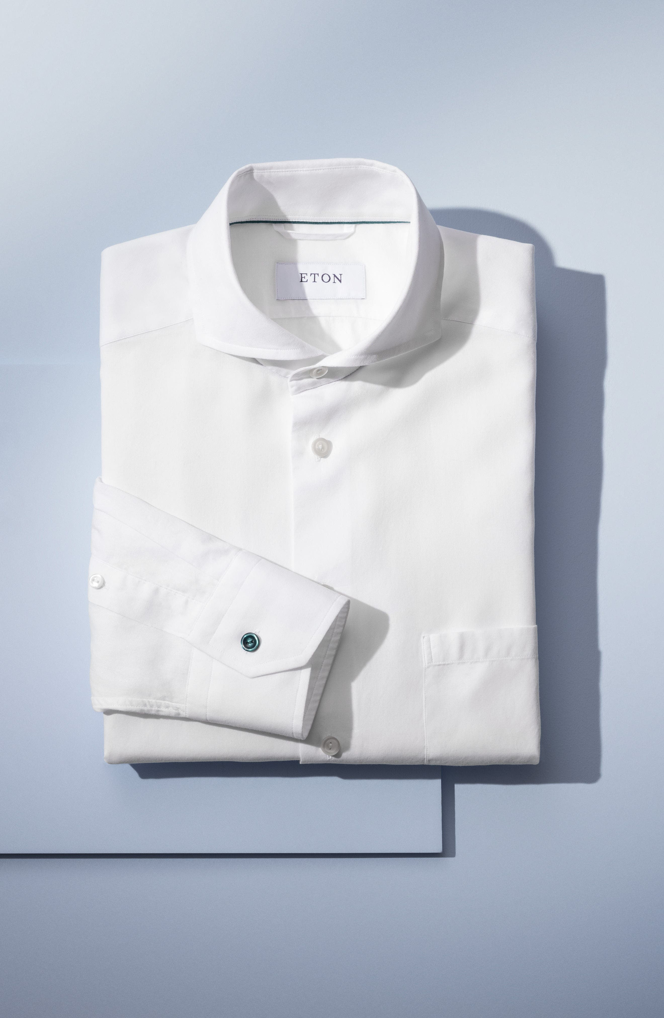 ETON,                             Slim Fit Solid Dress Shirt,                             Alternate thumbnail 4, color,                             001
