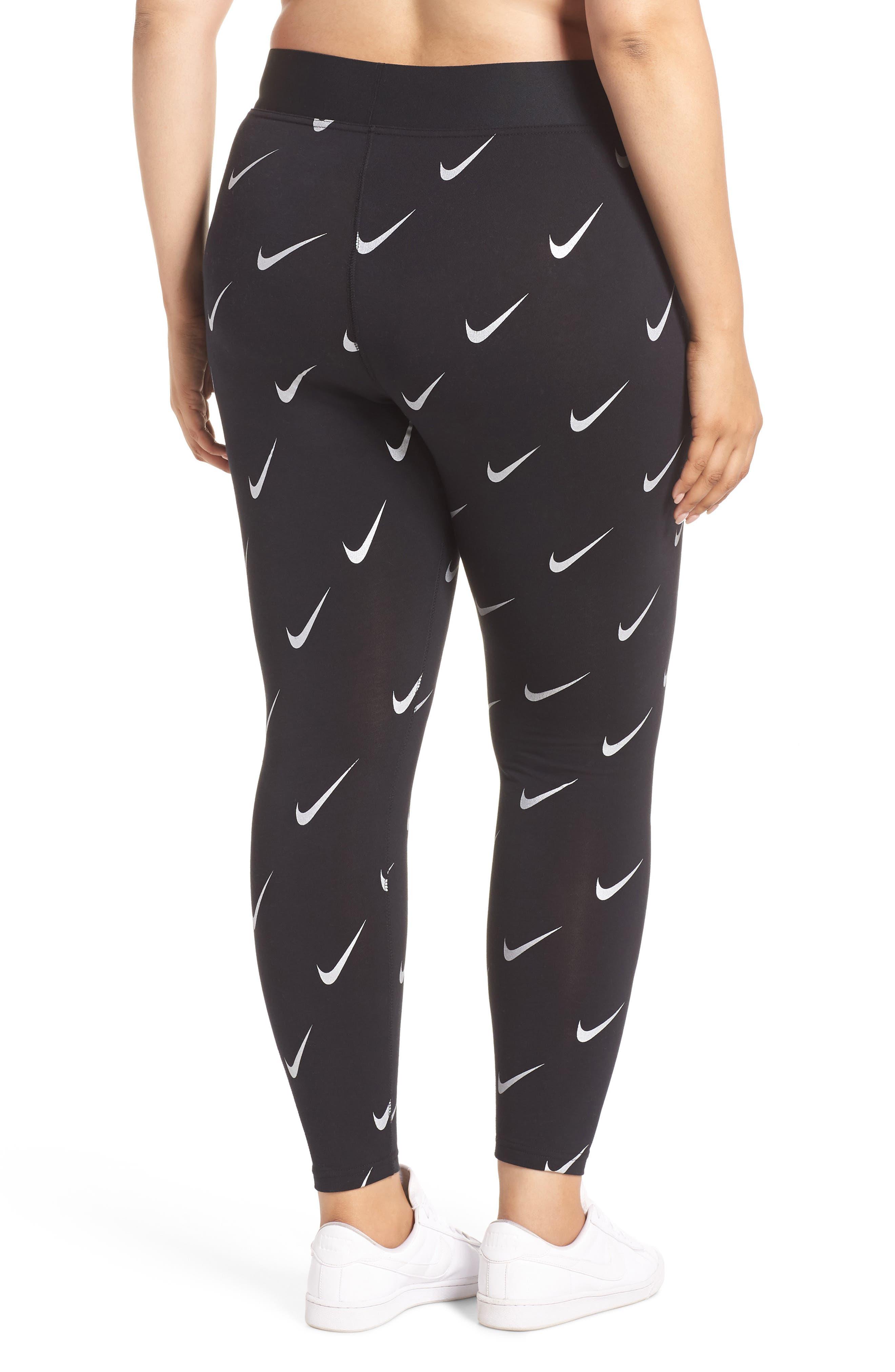 Sportswear Leg-A-See High Rise Print Leggings,                             Alternate thumbnail 2, color,                             BLACK