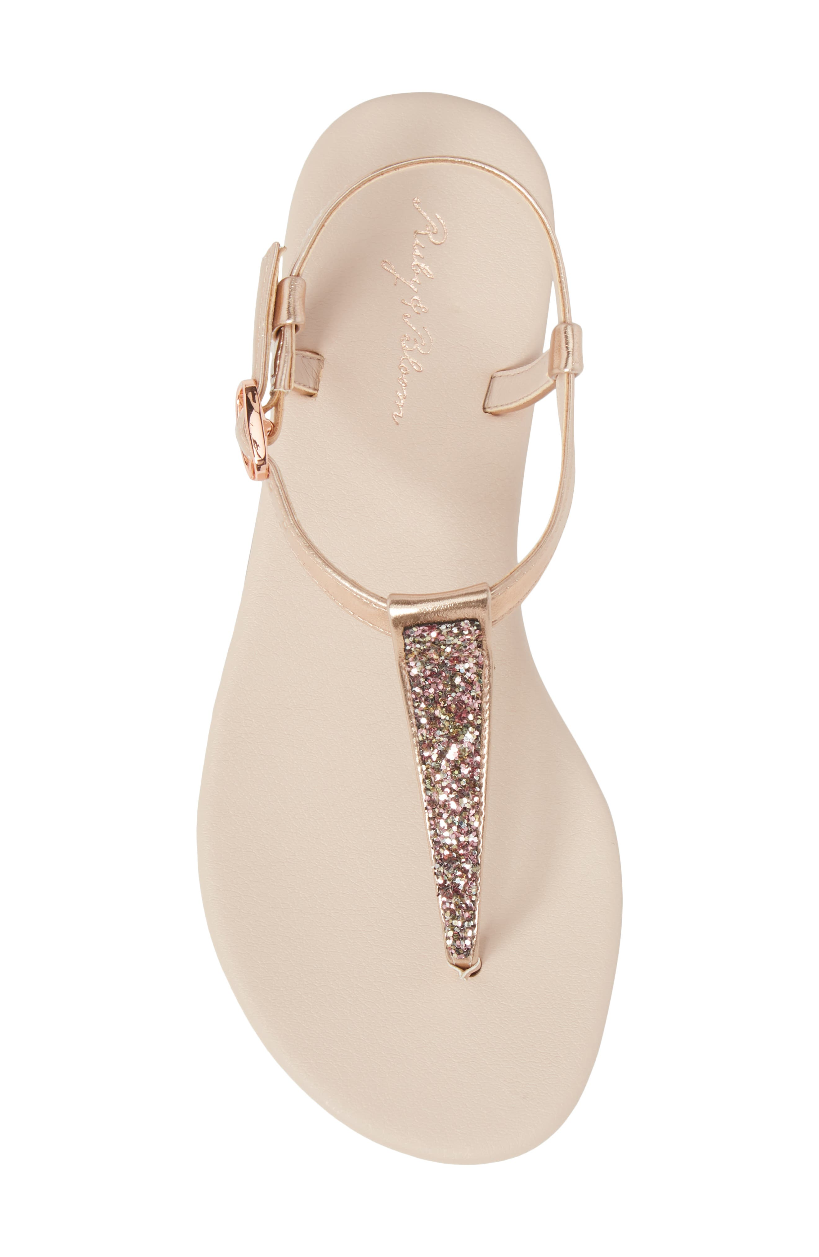 Noe Glitter T-Strap Sandal Sandal,                             Alternate thumbnail 5, color,                             ROSE GOLD FAUX LEA