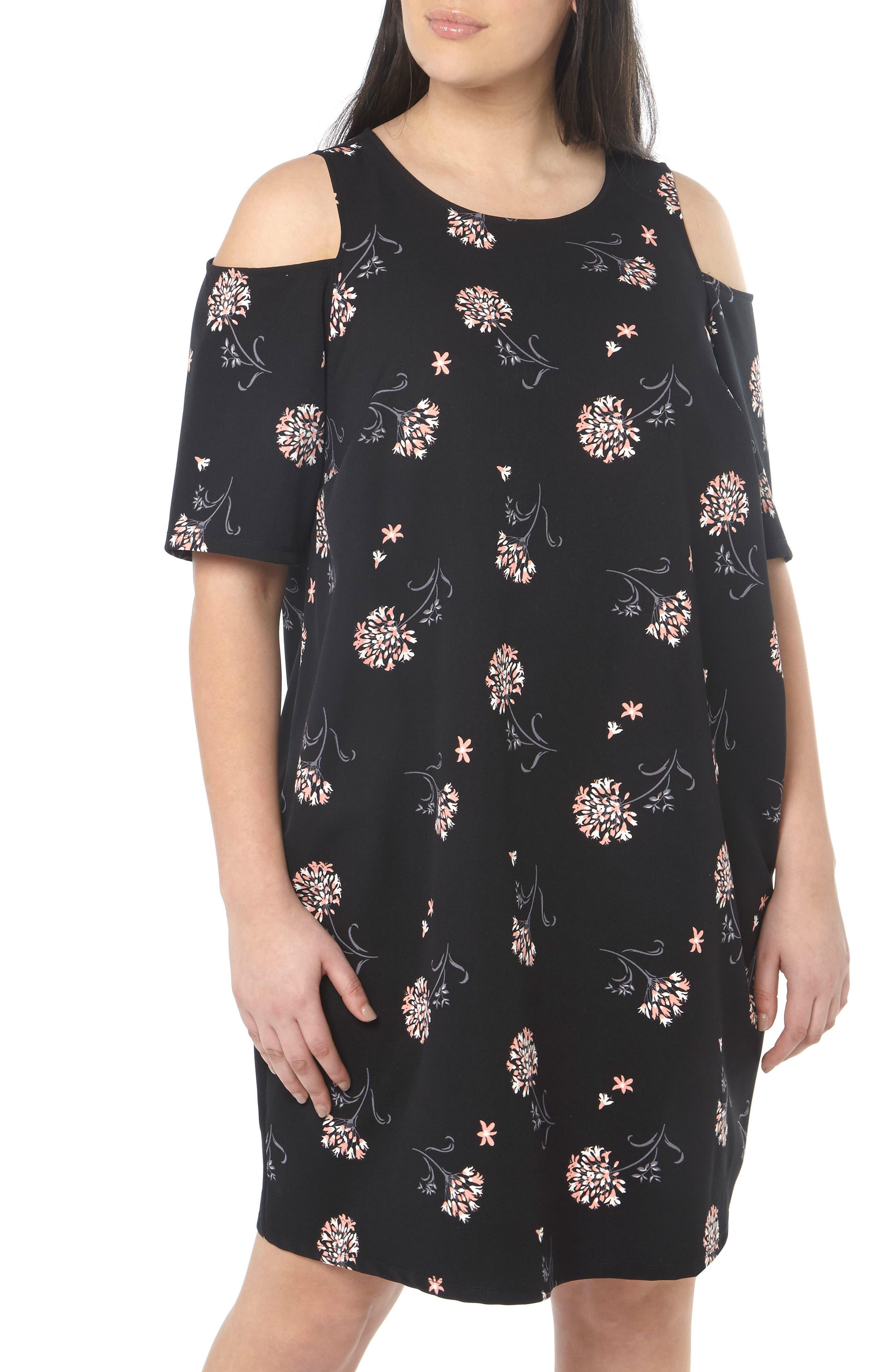 Floral Cold Shoulder Shift Dress,                         Main,                         color, 001