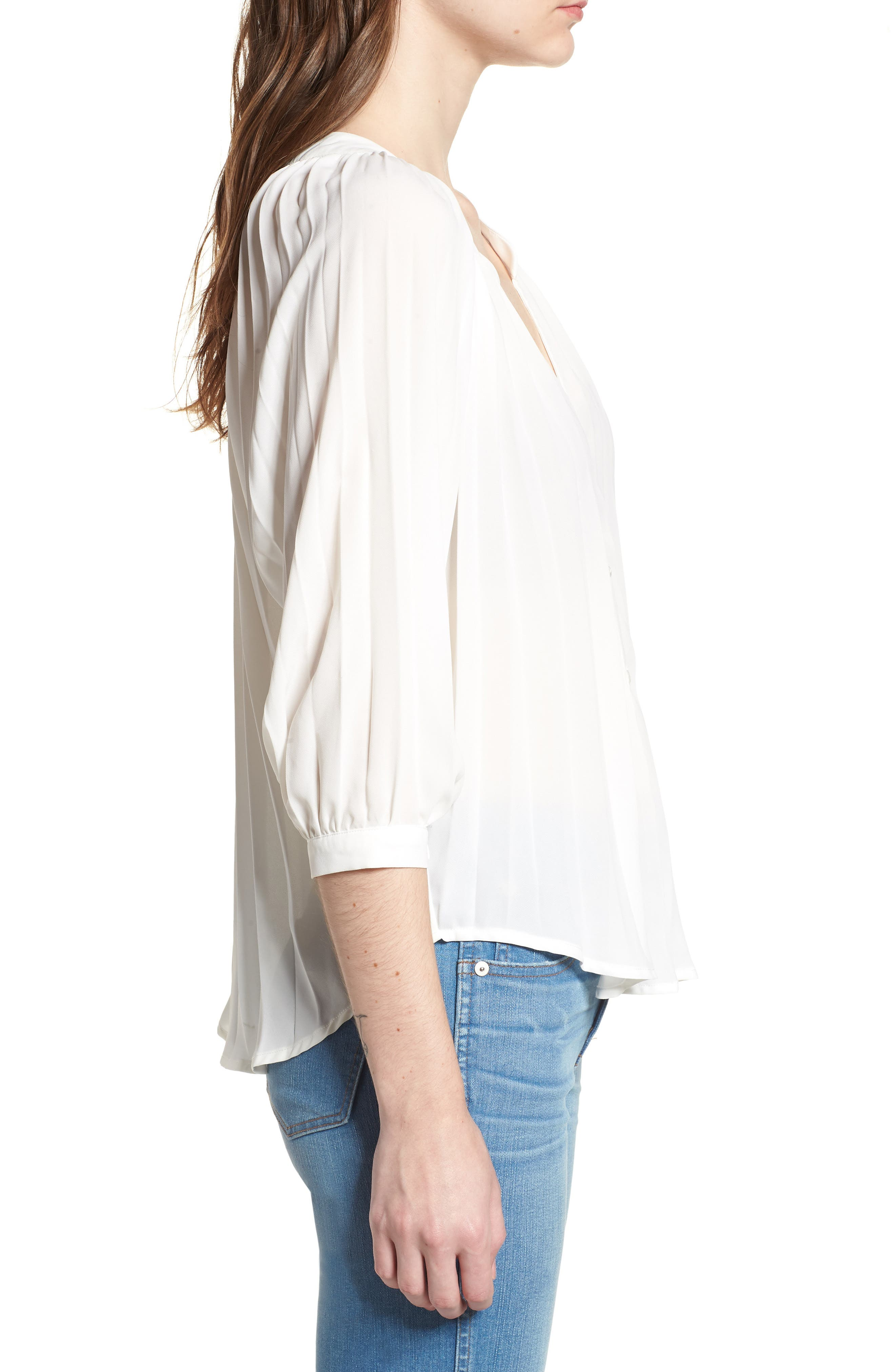 Bishop + Young Pleated Top,                             Alternate thumbnail 3, color,                             WHITE