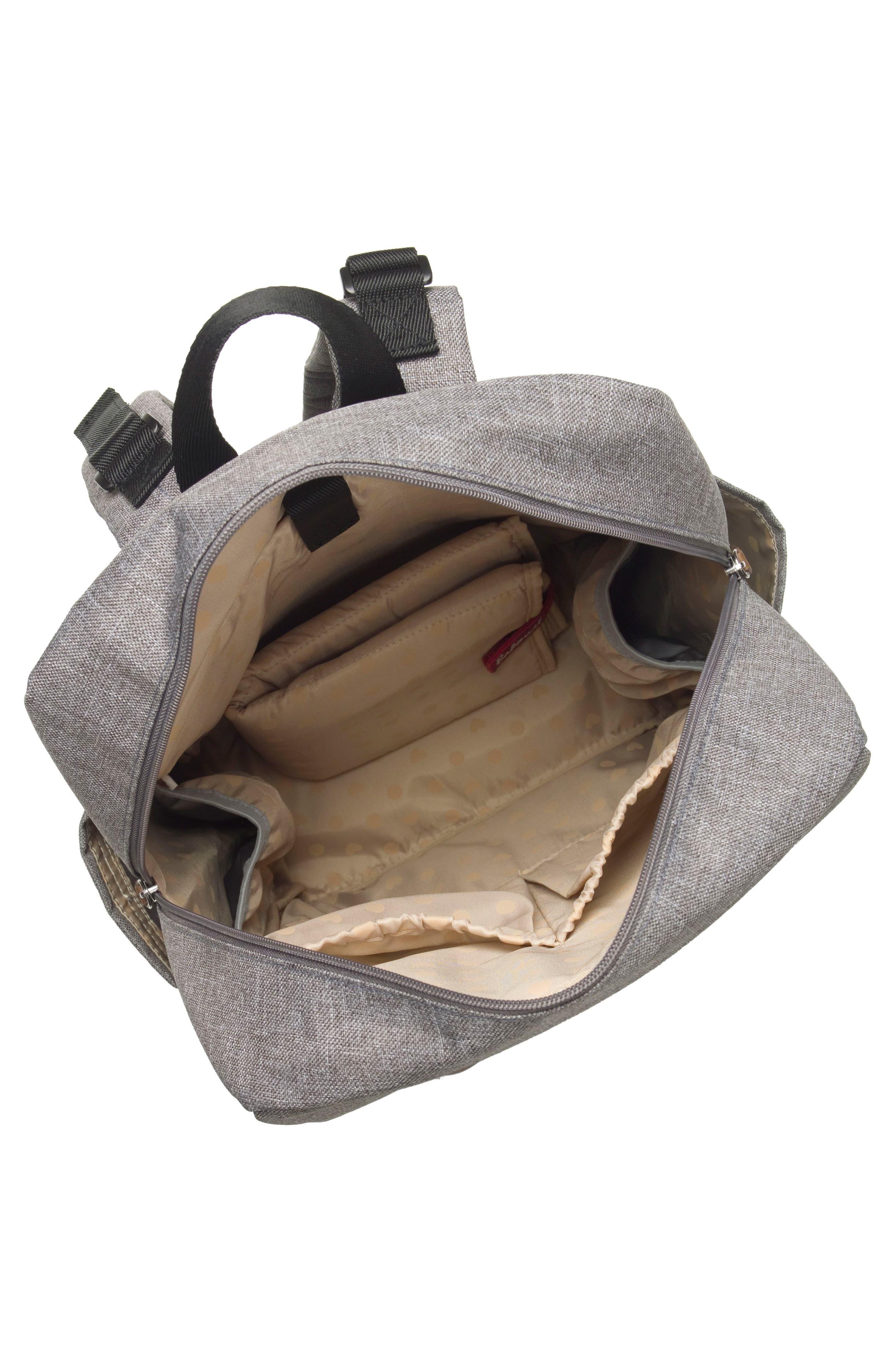 George Water Resistant Diaper Backpack,                             Alternate thumbnail 5, color,                             BLACK/ GREY