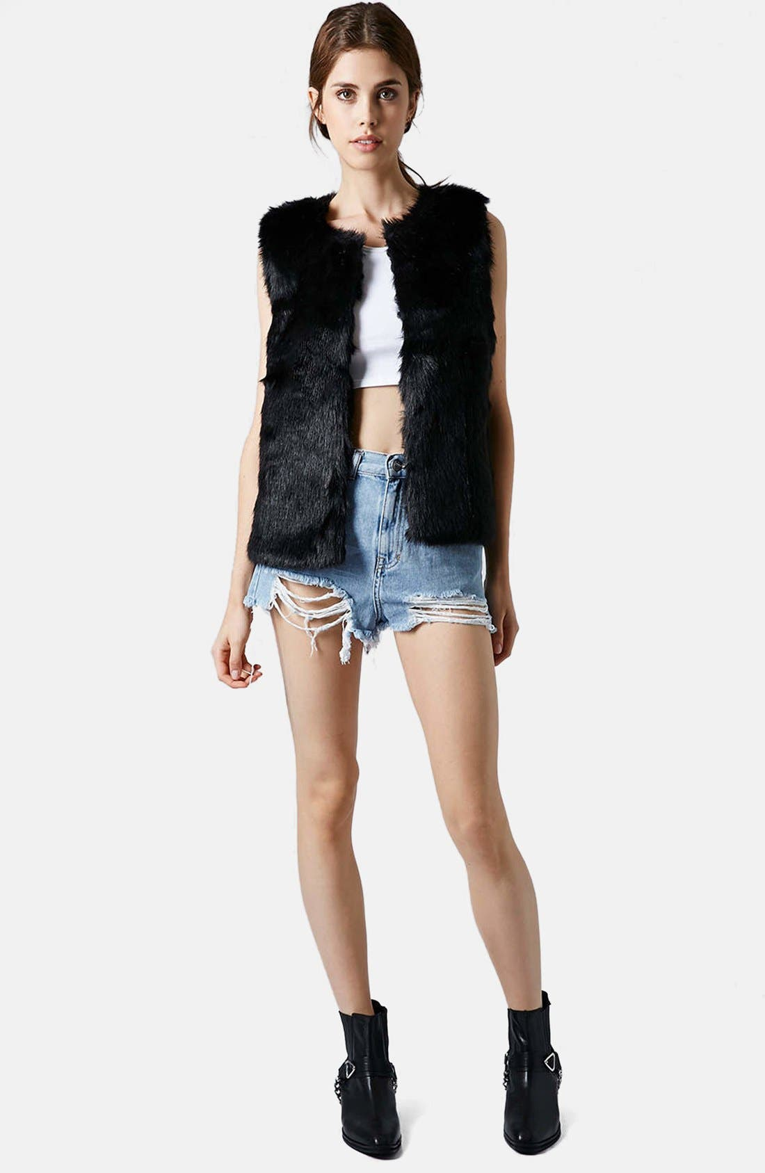 Faux Fur Gilet Vest,                             Alternate thumbnail 5, color,                             001
